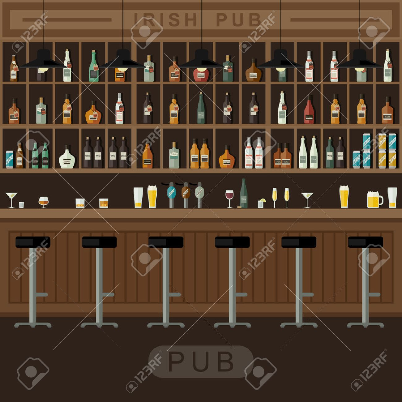 Bar Restaurant With Counter In Flat Style Vector Banner Of Interior With  Bar Counter, Bar Chairs And Shelves With Alcohol