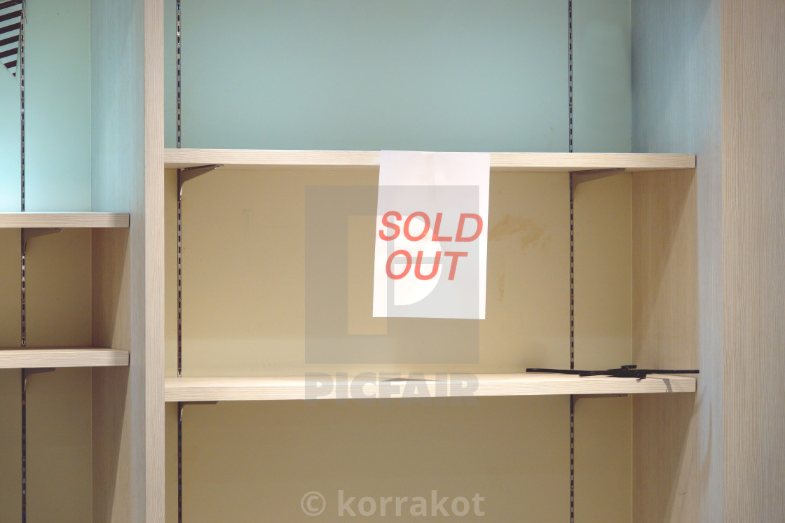 Sold Out Sign On Empty Shelves - License, Download Or Print