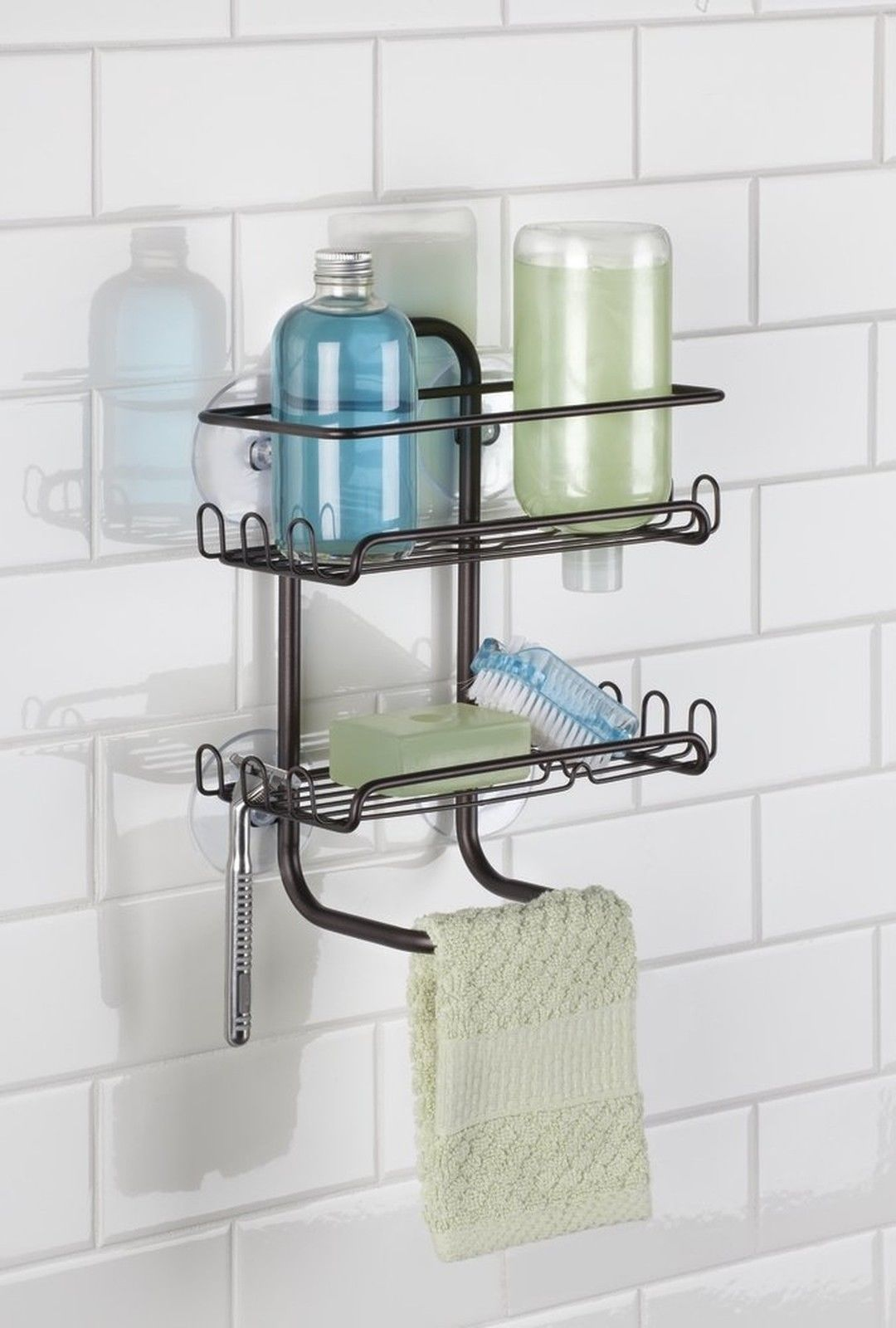 Shelves For Shampoo And Soaps; Hooks On Both Sides To Hang