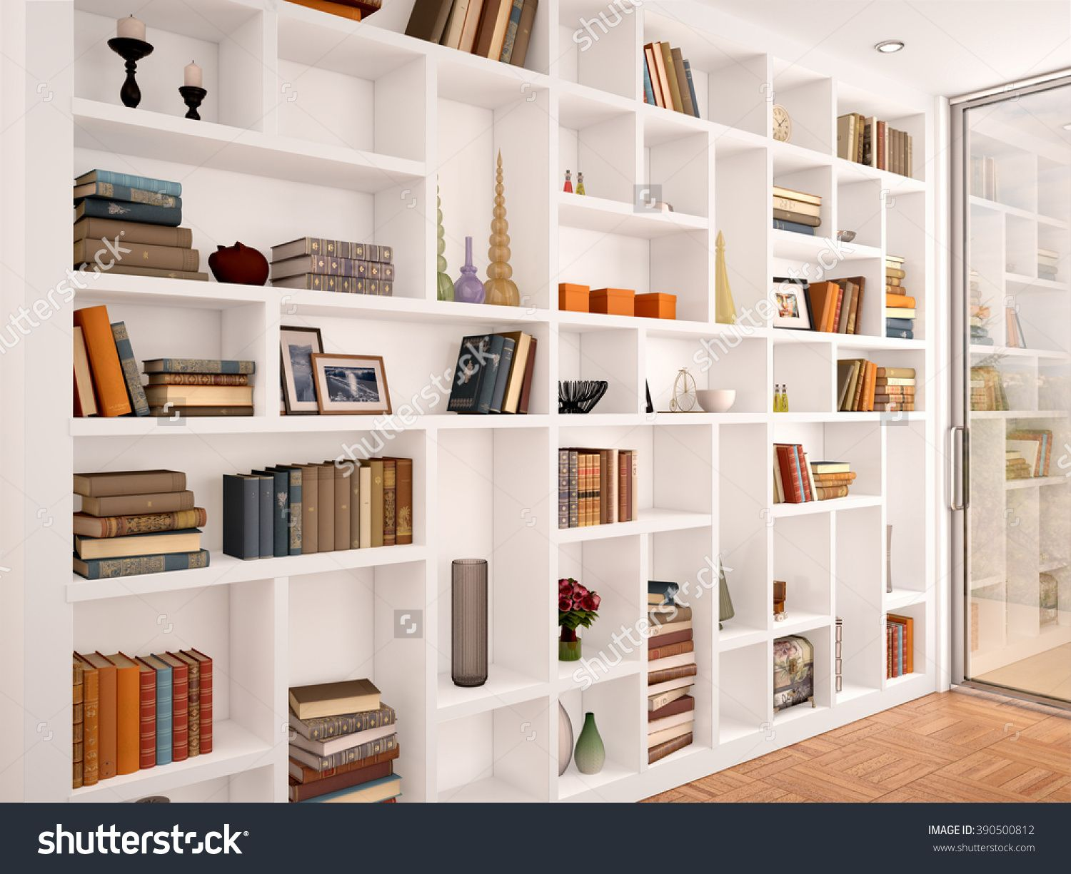 3d Illustration Of White Shelves In The Interior With