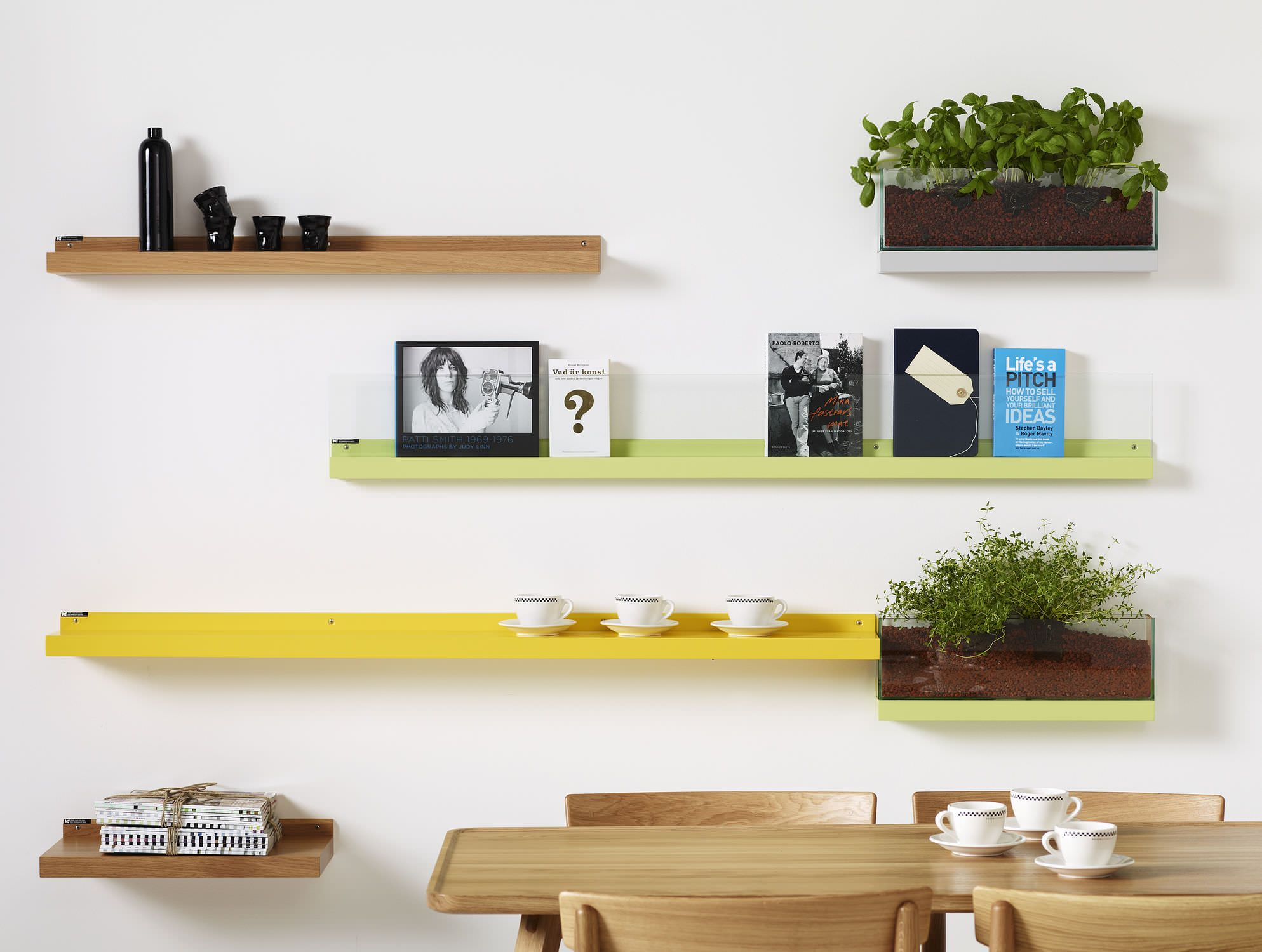 Various Unique Modern Wall Mounted Bookshelves: Chic Color