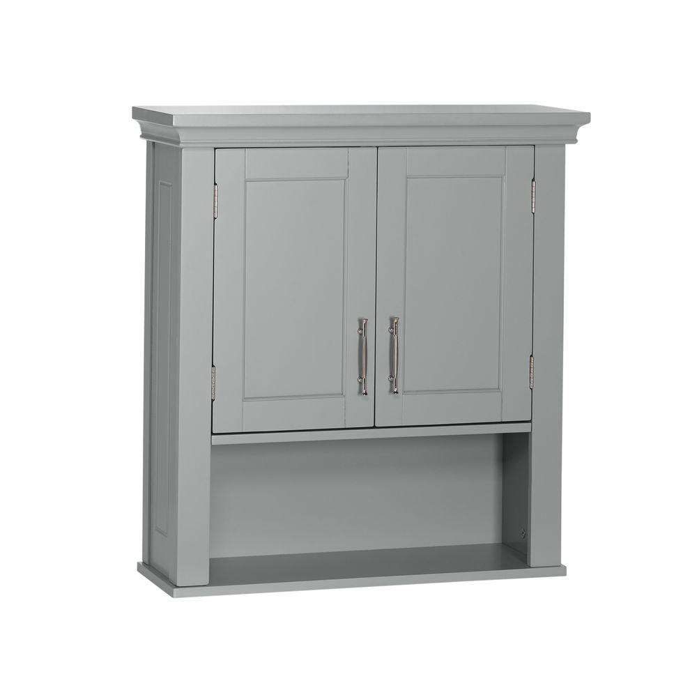 Details About Bathroom Wall Cabinet Storage 2-door 3 Shelves Hardware Pull  Handle Gray