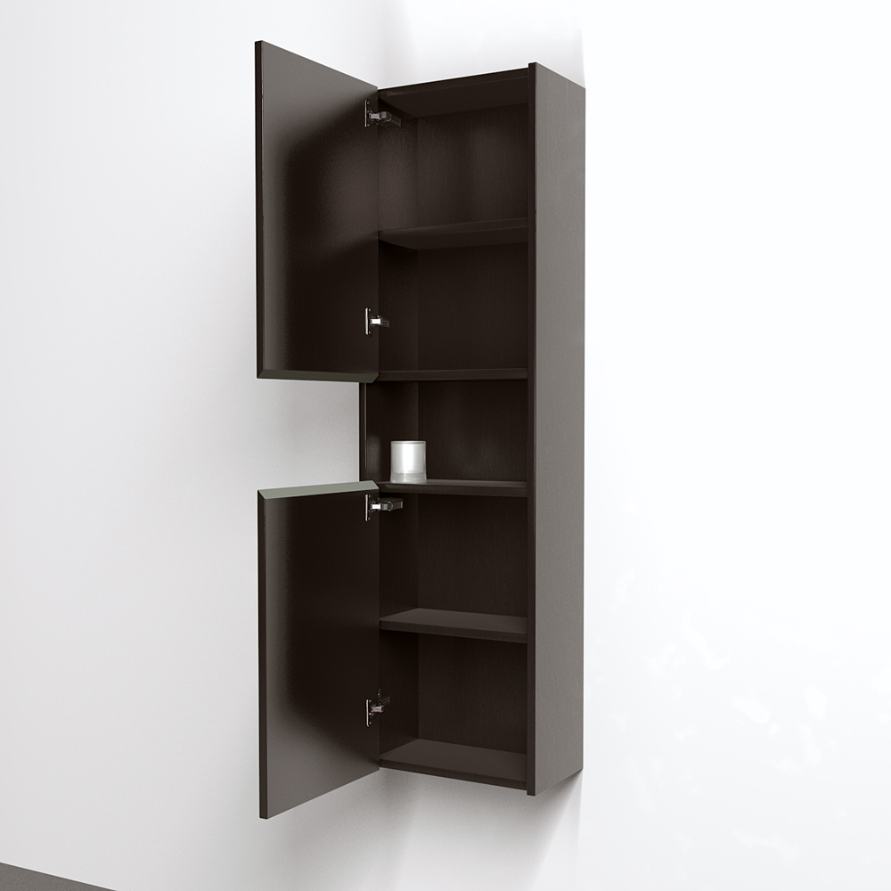Sarah Wall-mounted Bathroom Storage Cabinet In Espresso With 5 Shelves