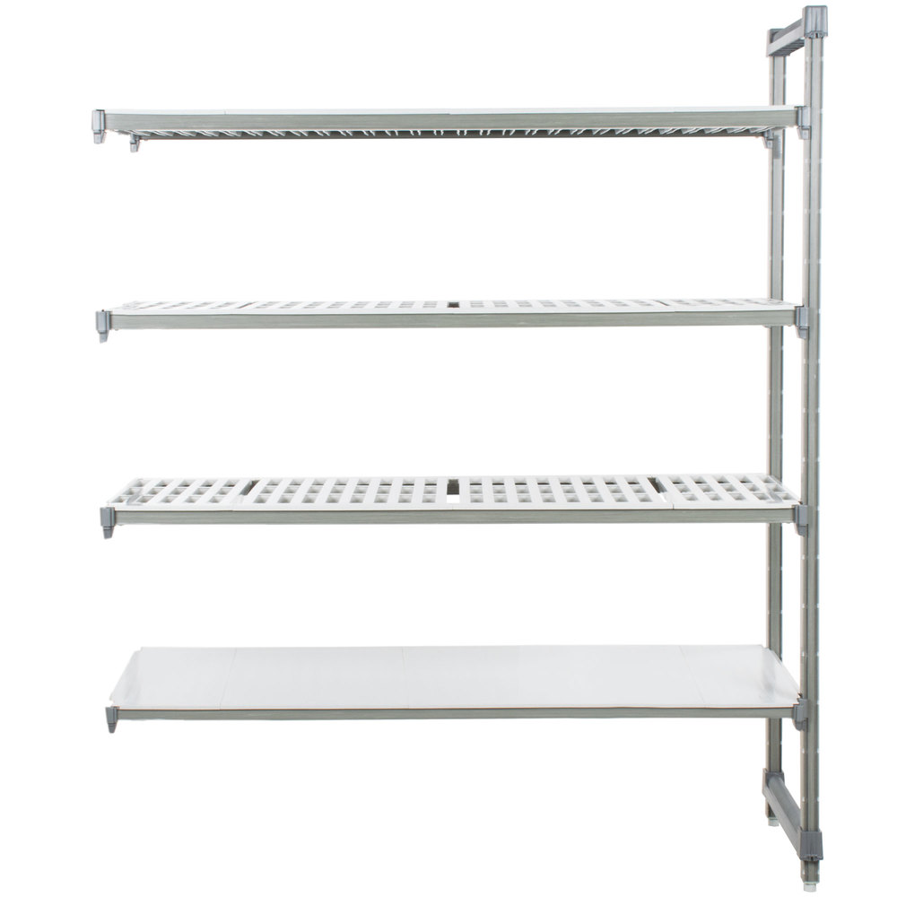 """Cambro Ea182464vs4580 Camshelvingâ® Elements Stationary Add-on Shelving Unit  With 3 Vented Shelves And 1 Solid Shelf - 18"""" X 24"""" X 64"""""""