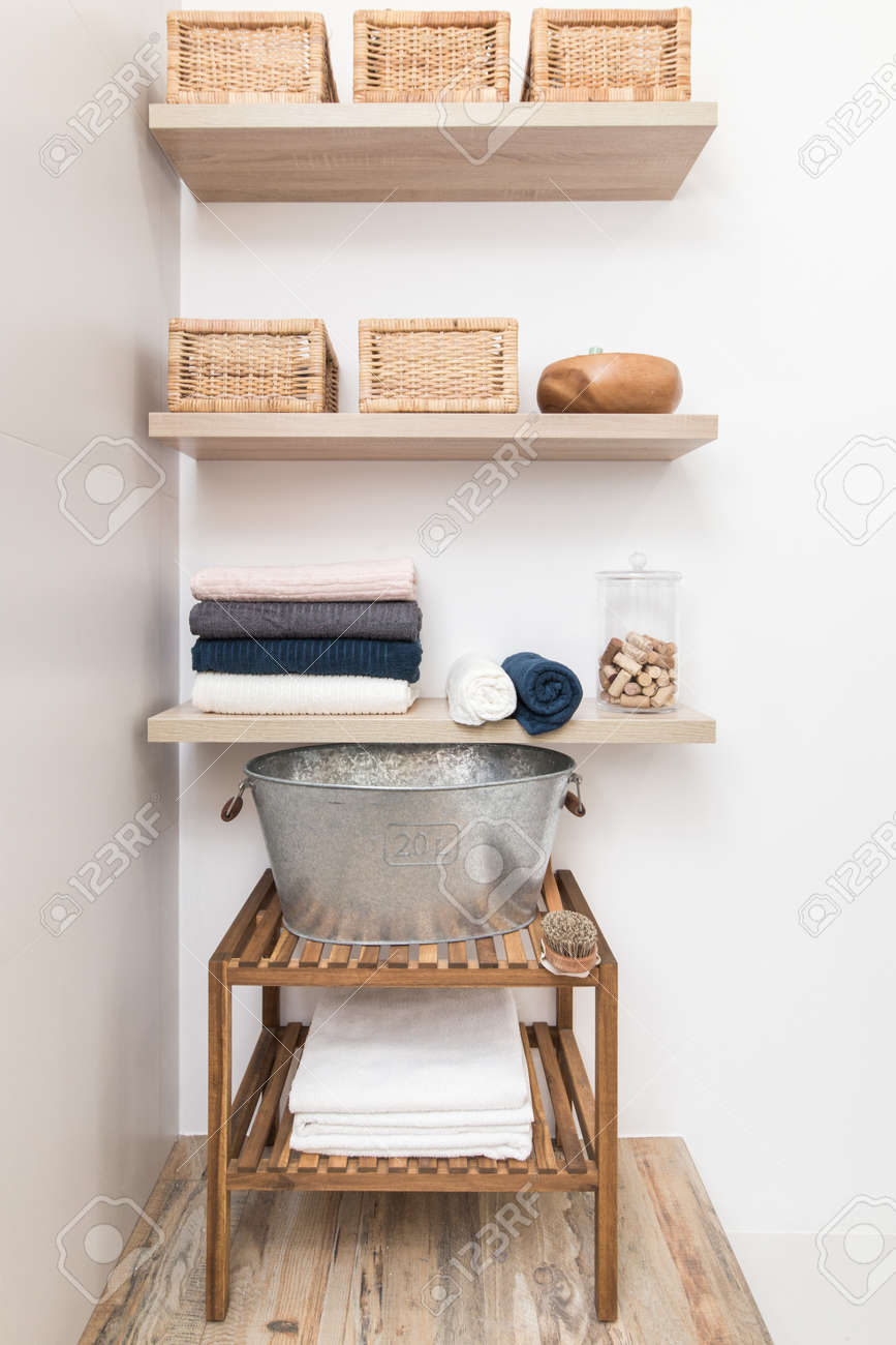 Design Elements In The Interior Of A Modern Bathroom Shelves
