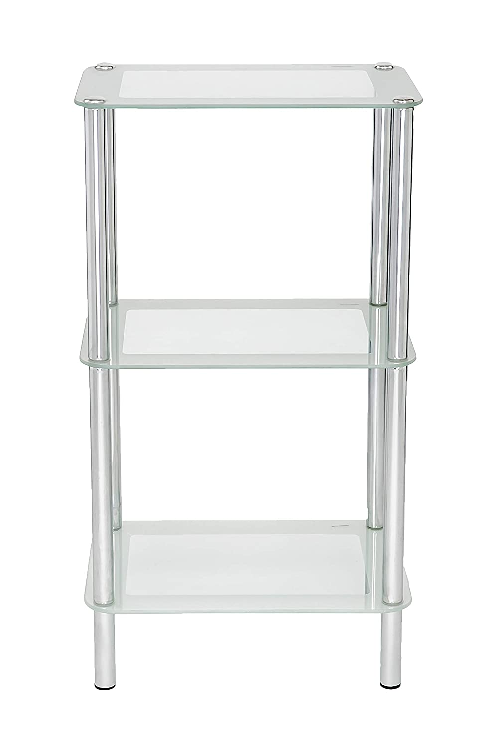 Us Office Elements 3 Tiers Rectangular Classic Design Tempered Glass Stand  With Shelves Adjustable Multi Media Great Feature For Bathrooms And Kitchen