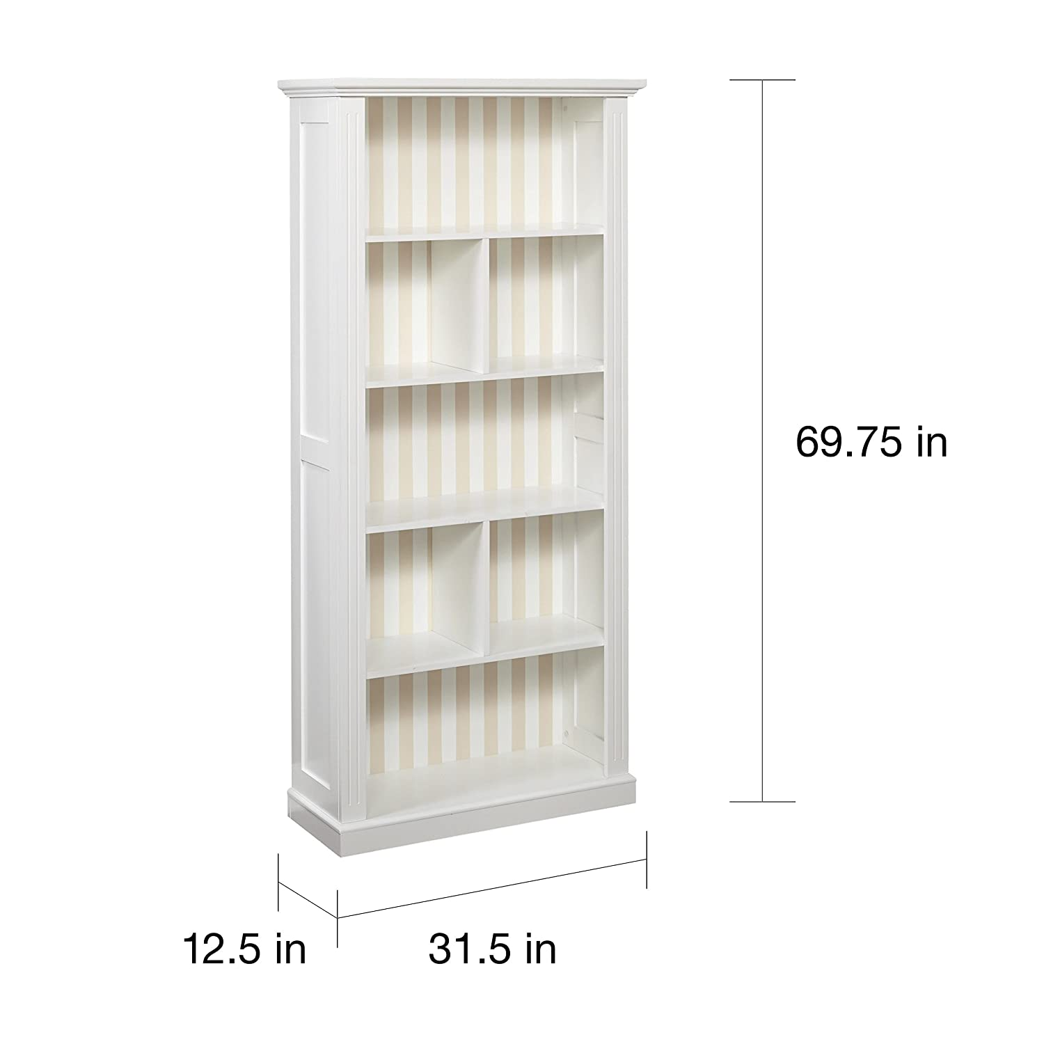 White Bookcase With 5 Inner Shelves And 2