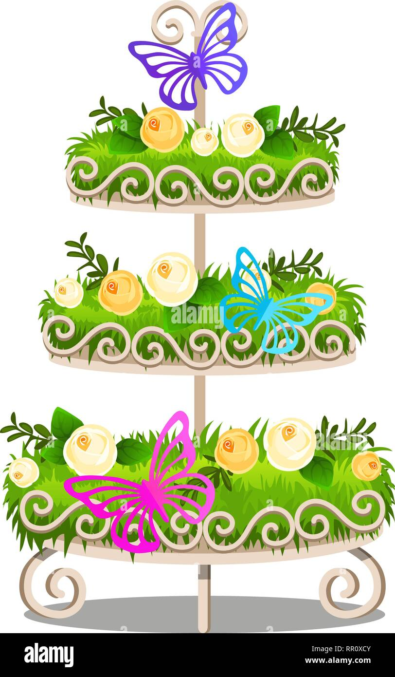 Elegant Tiered Shelf With Decorated Shelves, Green Grass