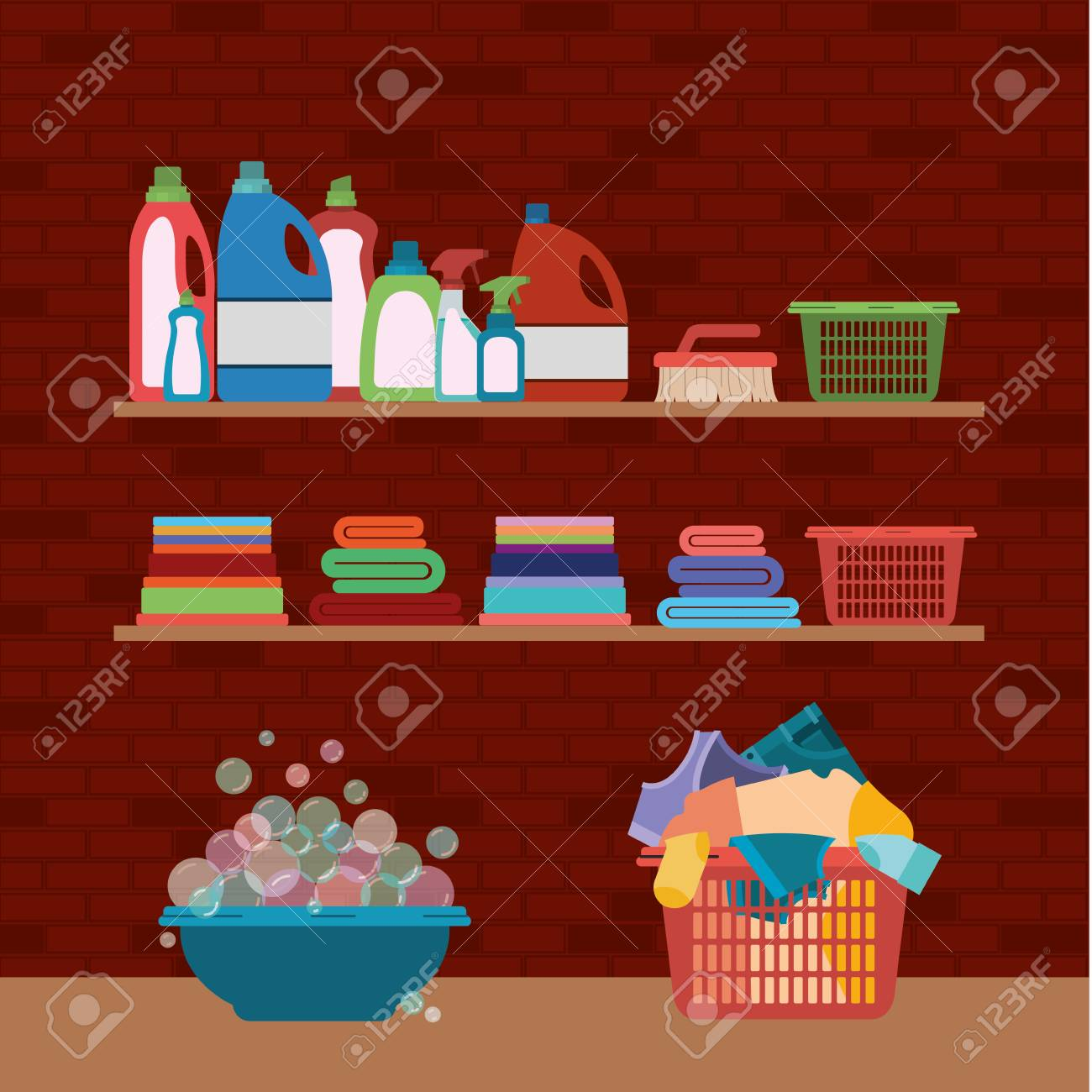Brick Wall Background Of Wooden Shelves And Elements Of Cleaning