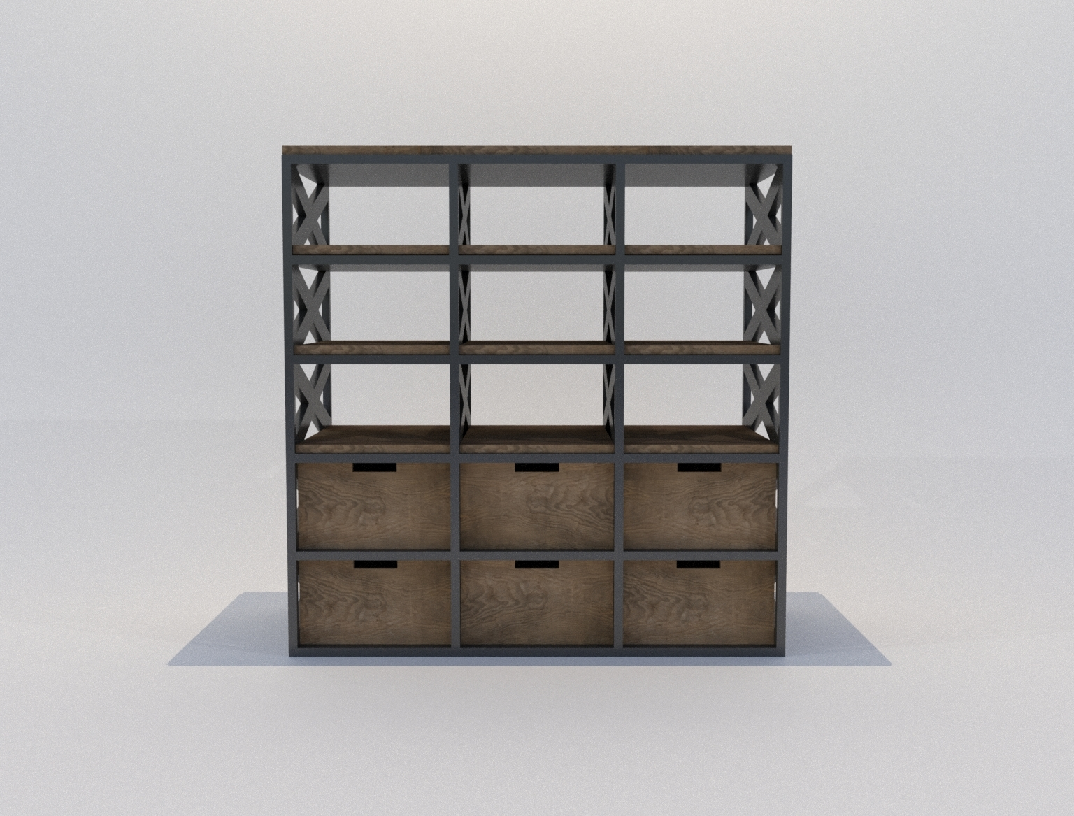Industrial Bookshelf With Rustic Wooden Shelves And Boxes