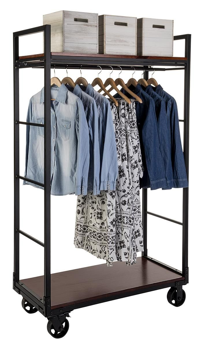 Rolling Clothing Rack With 2 Wooden Shelves & Hanging Rail