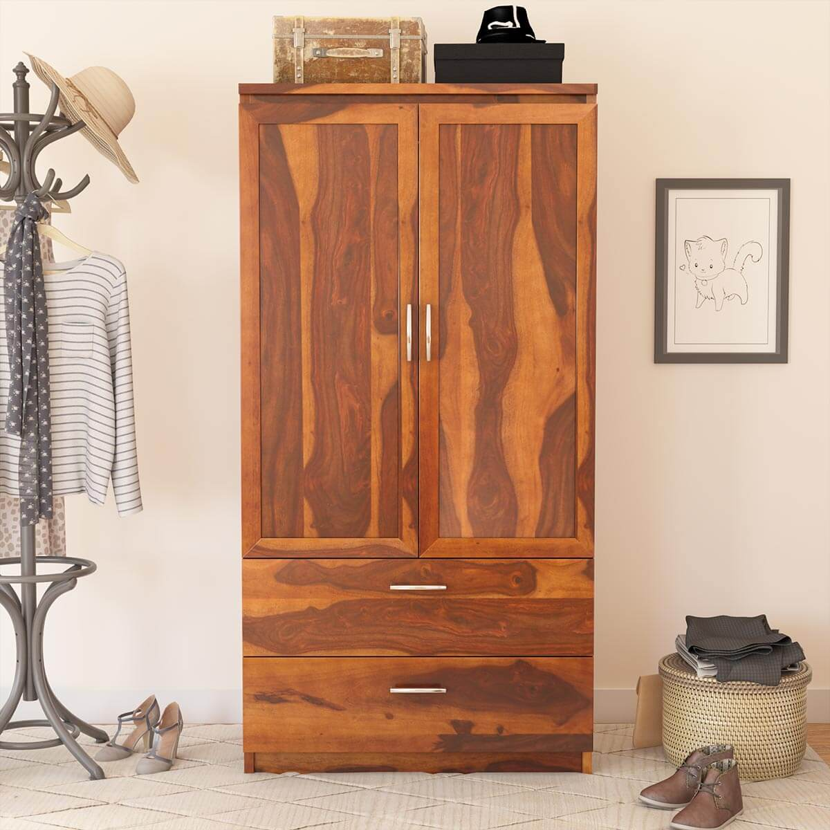 Caspian Rustic Solid Wood Wardrobe Clothing Armoire With Shelves