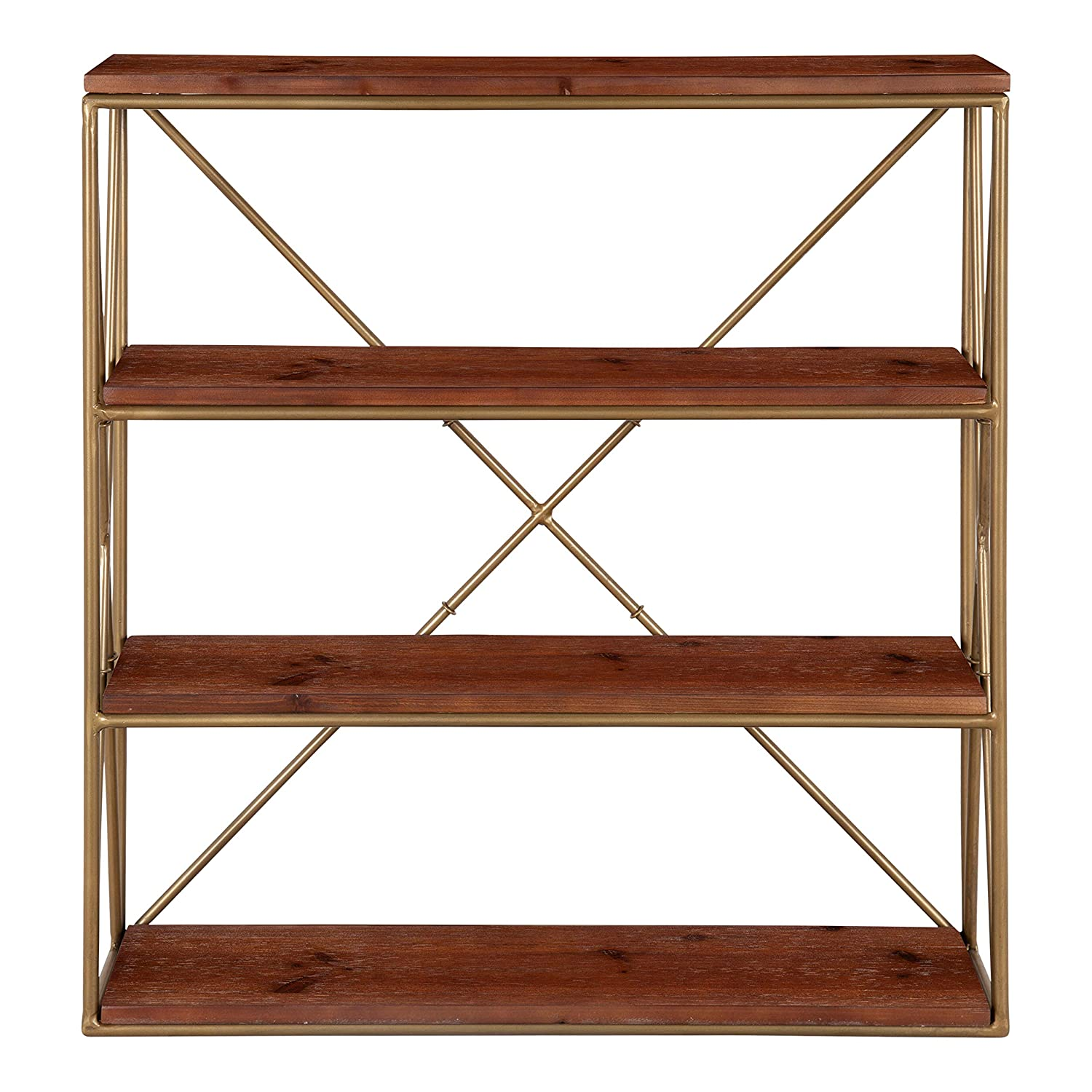 Kate And Laurel Ascencio 4-layer Modern Glam Wooden Wall Shelves With Gold  Metal Frame And Walnut Brown Display Boards, 22x6x2425