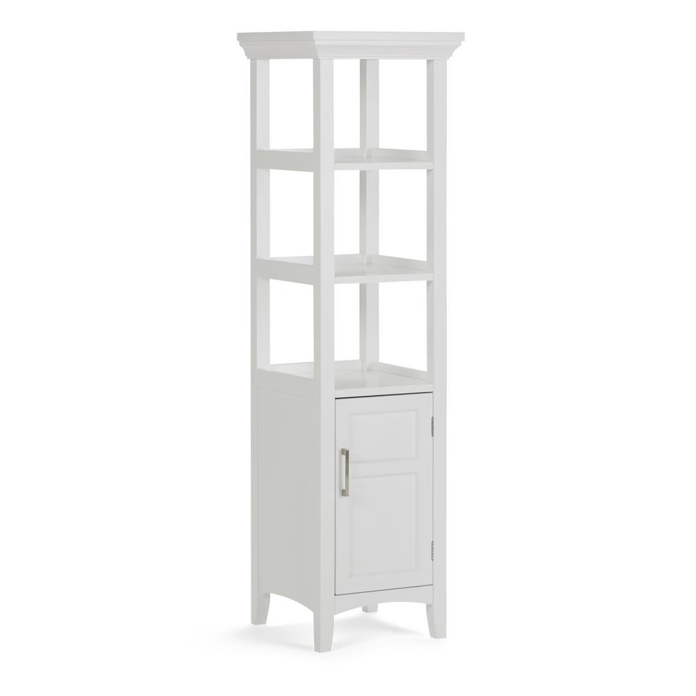 Simpli Home Avington 158 In W X 158 In D X 563 In H Bath Linen  Storage Tower Cabinet With 3 Open Shelves In White
