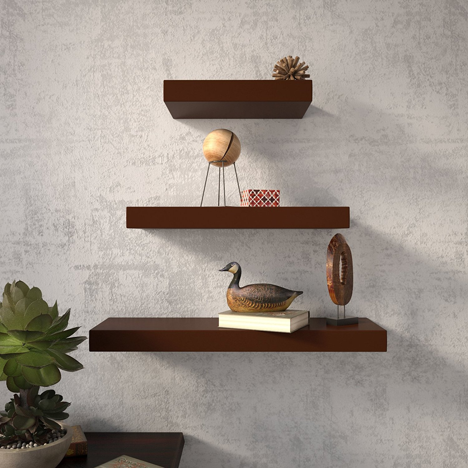 Set Of 3 (24x7in 18x7in 12x7in) Floating Wall Shelves For Storage & Display  - Brown