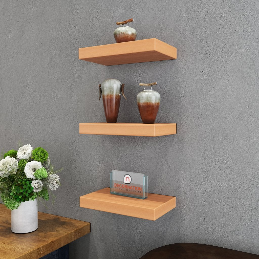 Set Of 3 (12x7in 12x7in 12x7in) Floating Wall Shelves For Storage & Display  - Bavarian Beech
