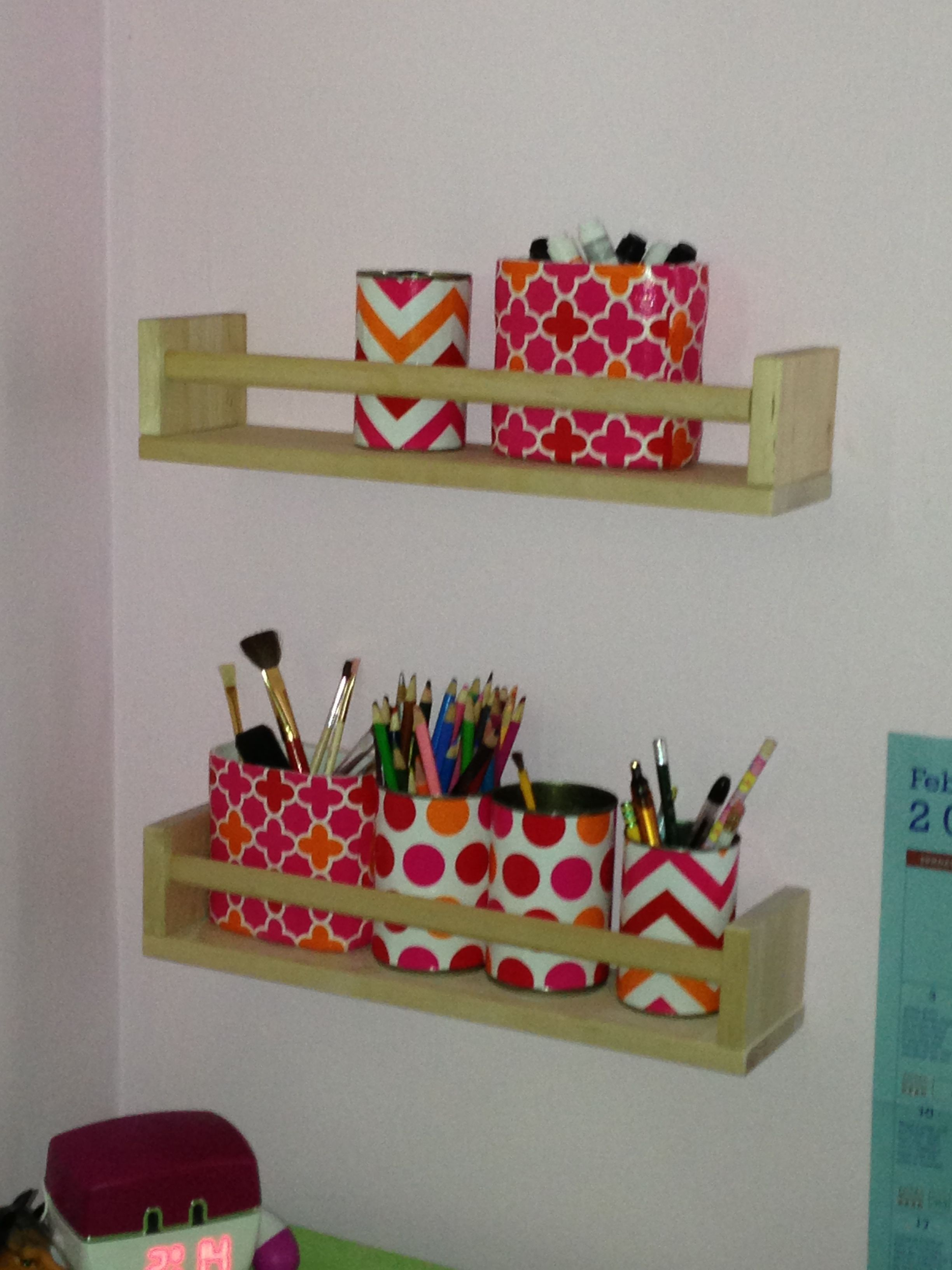 Ikea Bekvam Spice Shelves With Recycled Cans (covered In