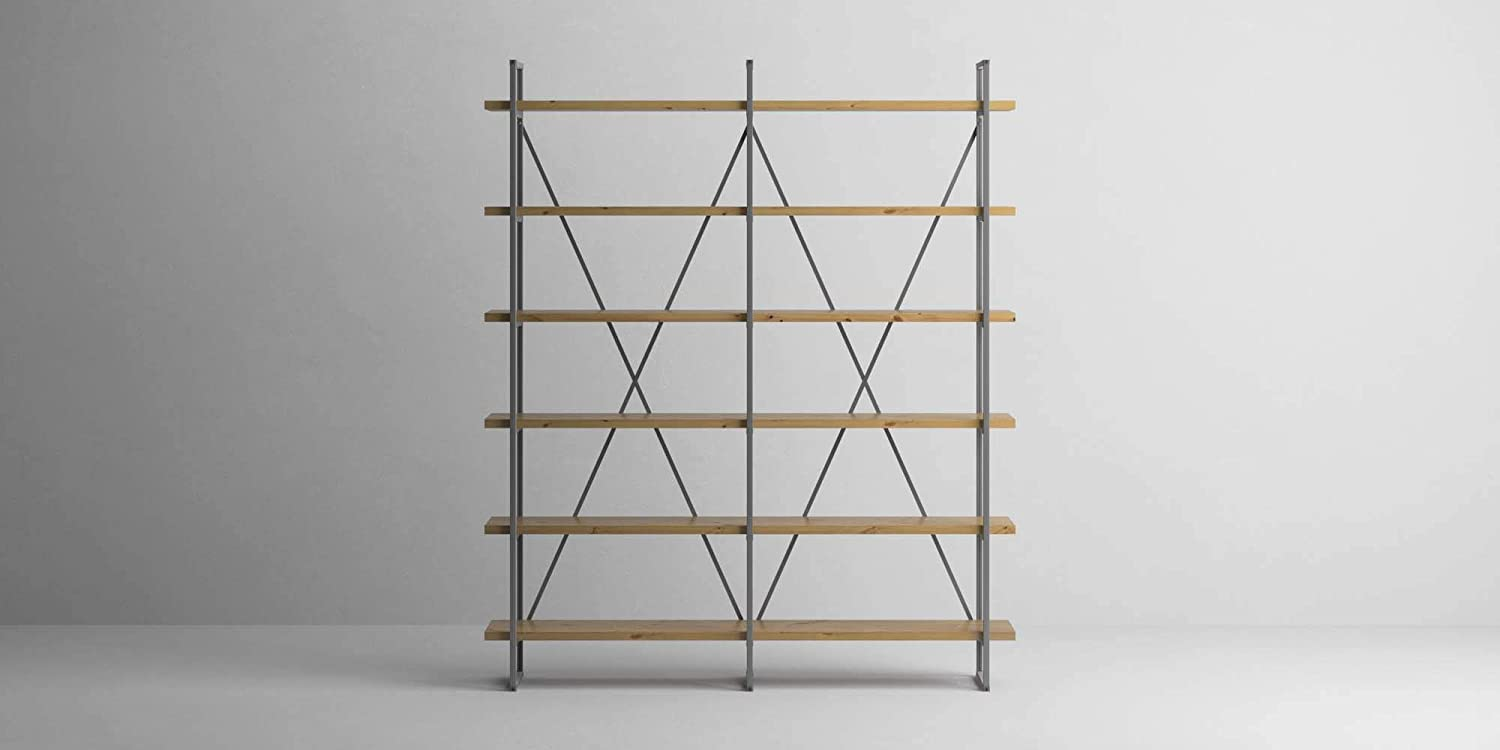 Industrial Rustic Solid Wood And Steel Free-standing Six-shelf Double Bay  Shelves - Oak Finish Shelf Thickness And Metal Finish Options