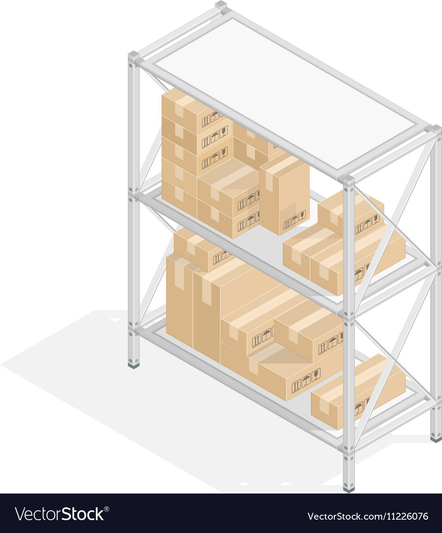 Storage Shelves With Cardboard Boxes