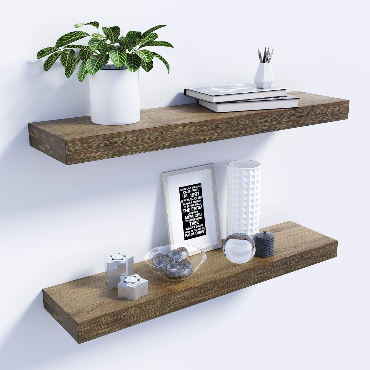 Bamfox Floating Shelves Set Of 2�natural Bamboo Wall Shelf Wall Mounted  Shelves�wall Mount Display Rack With Large Storage L23 X W6 For Kitchen  Living