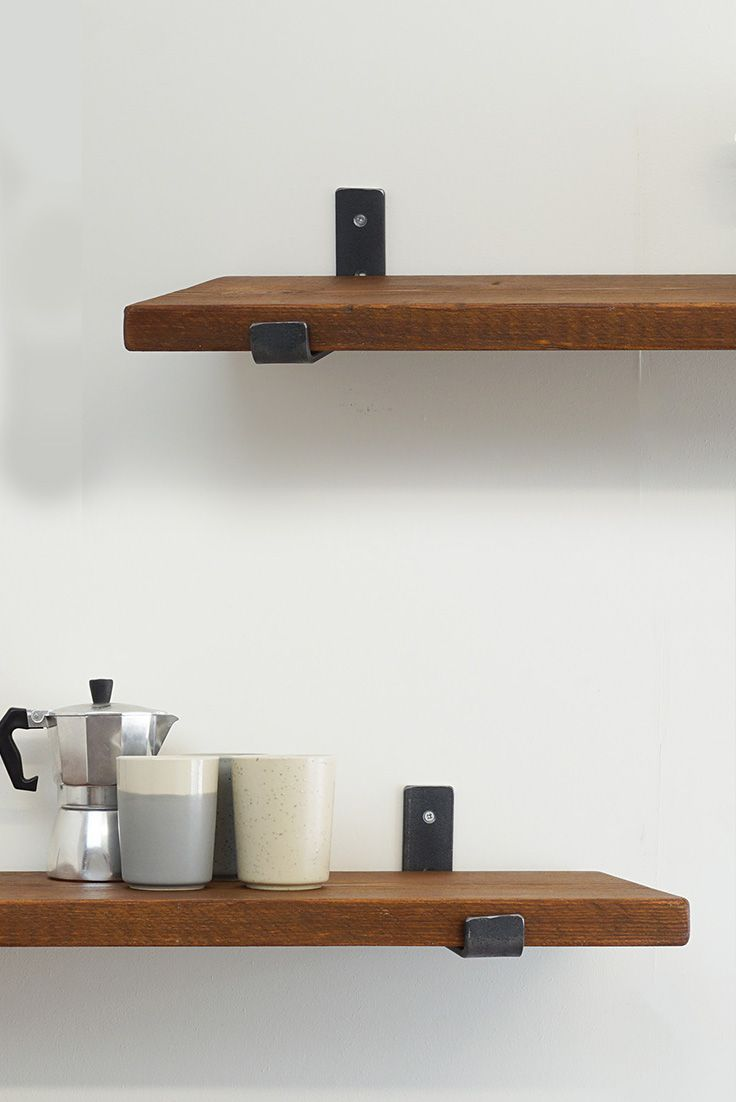 Handmade Wooden Shelves With Industrial Brackets By