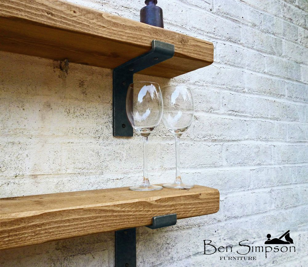 Details About Rustic Shelves | Chunky Solid Wood Shelf With