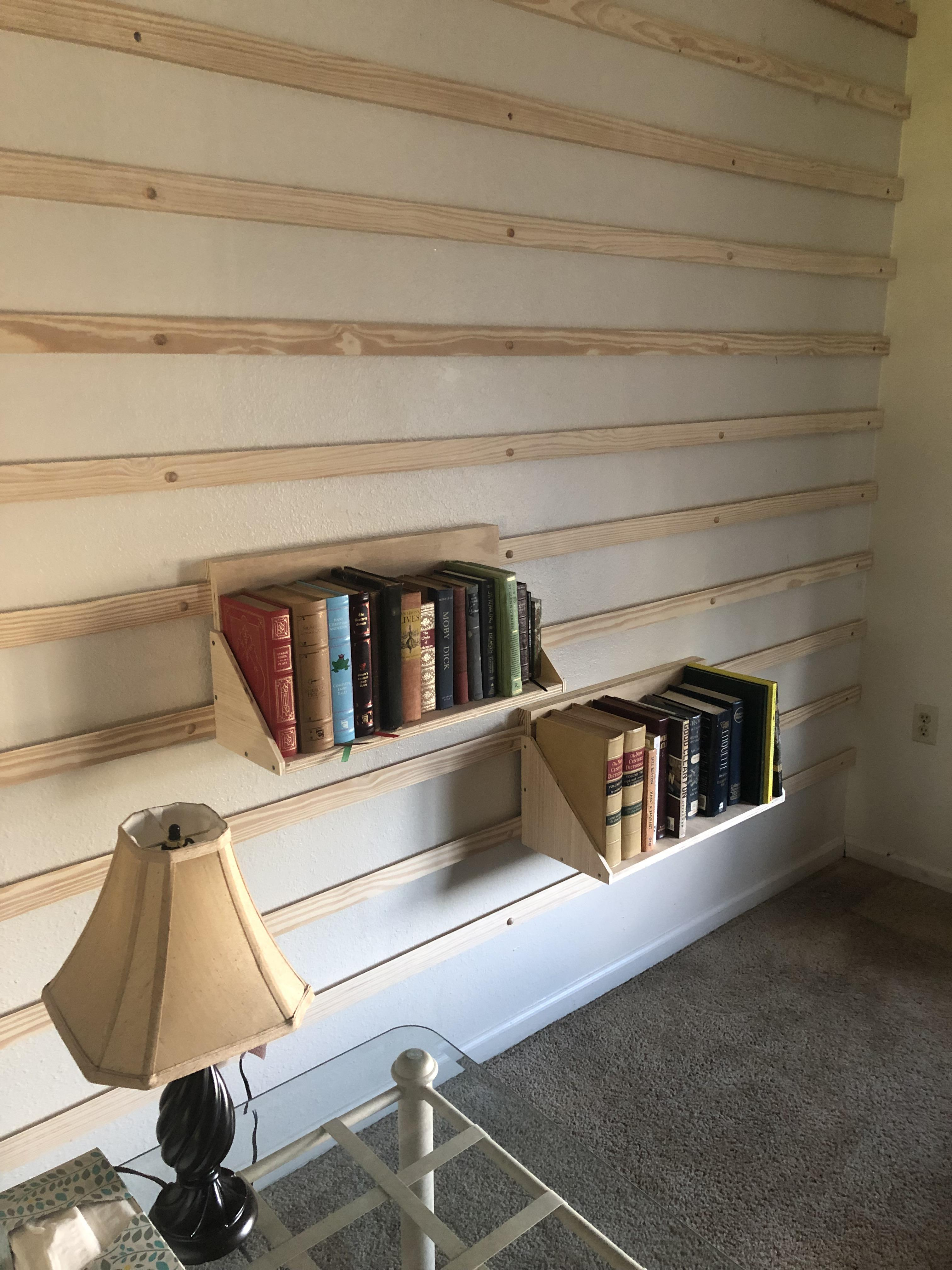 Wip Whole Wall French Cleat Bookshelves - Woodworking