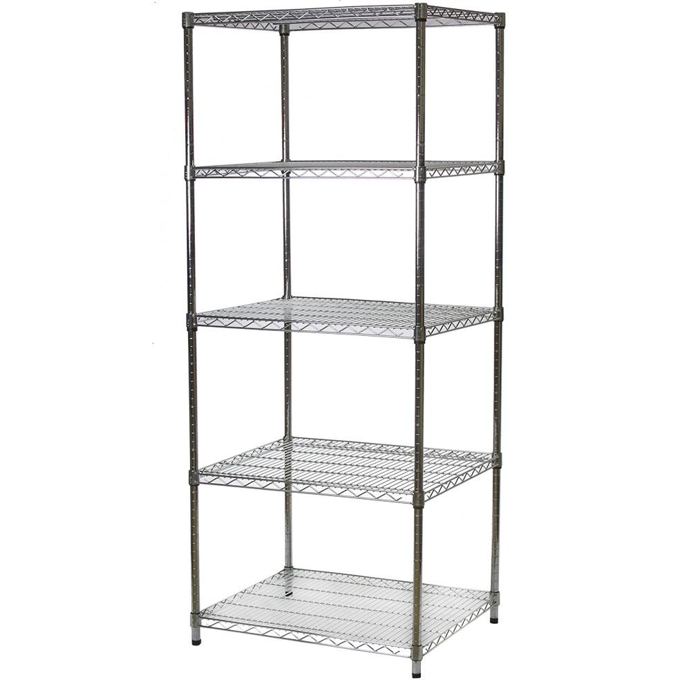 """24""""d X 30""""w Chrome Wire Shelving Unit With 5 Shelves"""