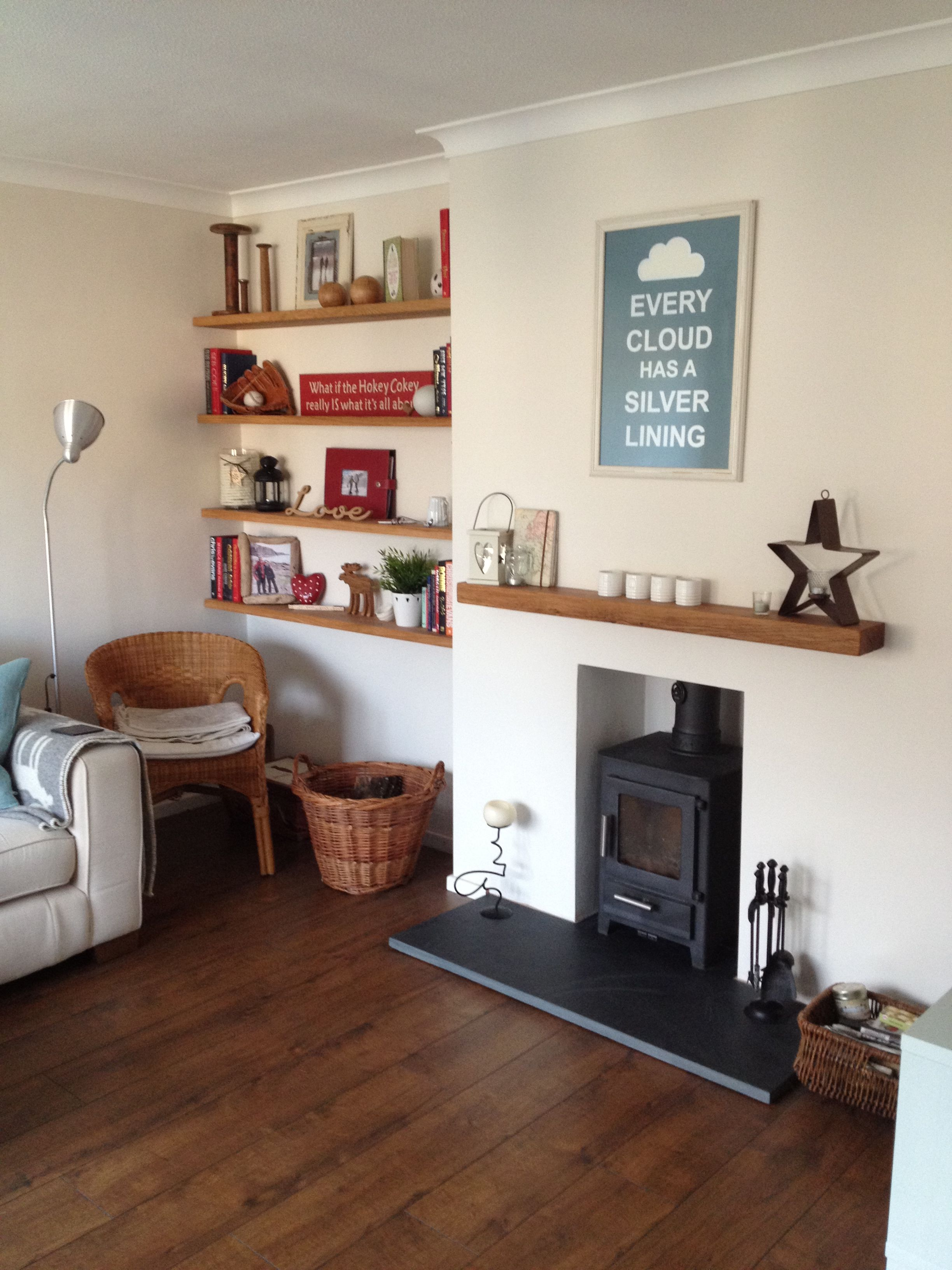 Eclectic Living Room, With Oak Floating Shelves And Log