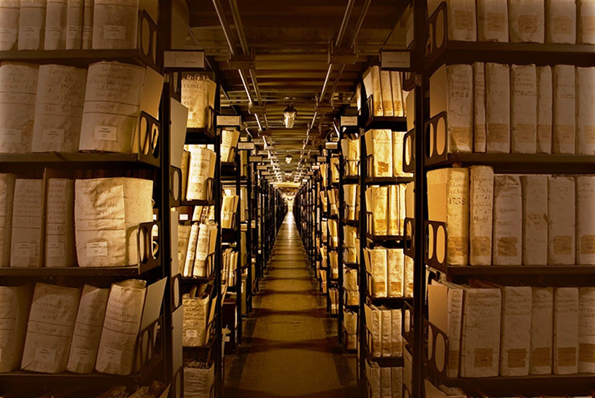 Gallery Of The Metallic Shelves In The Vatican Archive