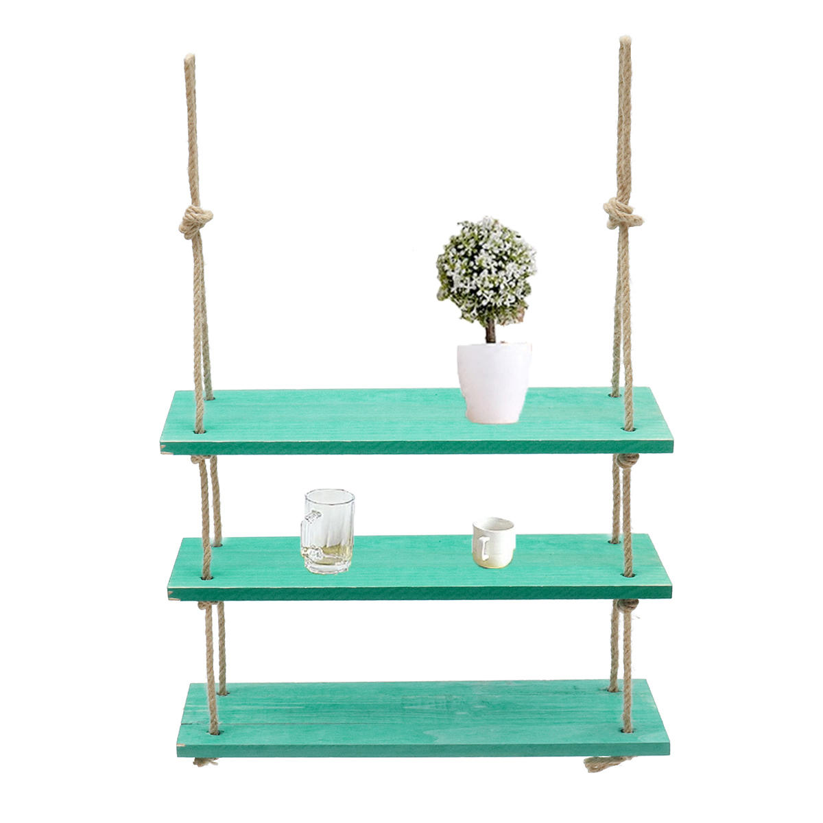 Home & Kitchen Size : 1 Tiers Hemp Rope Shelves Wood Wall