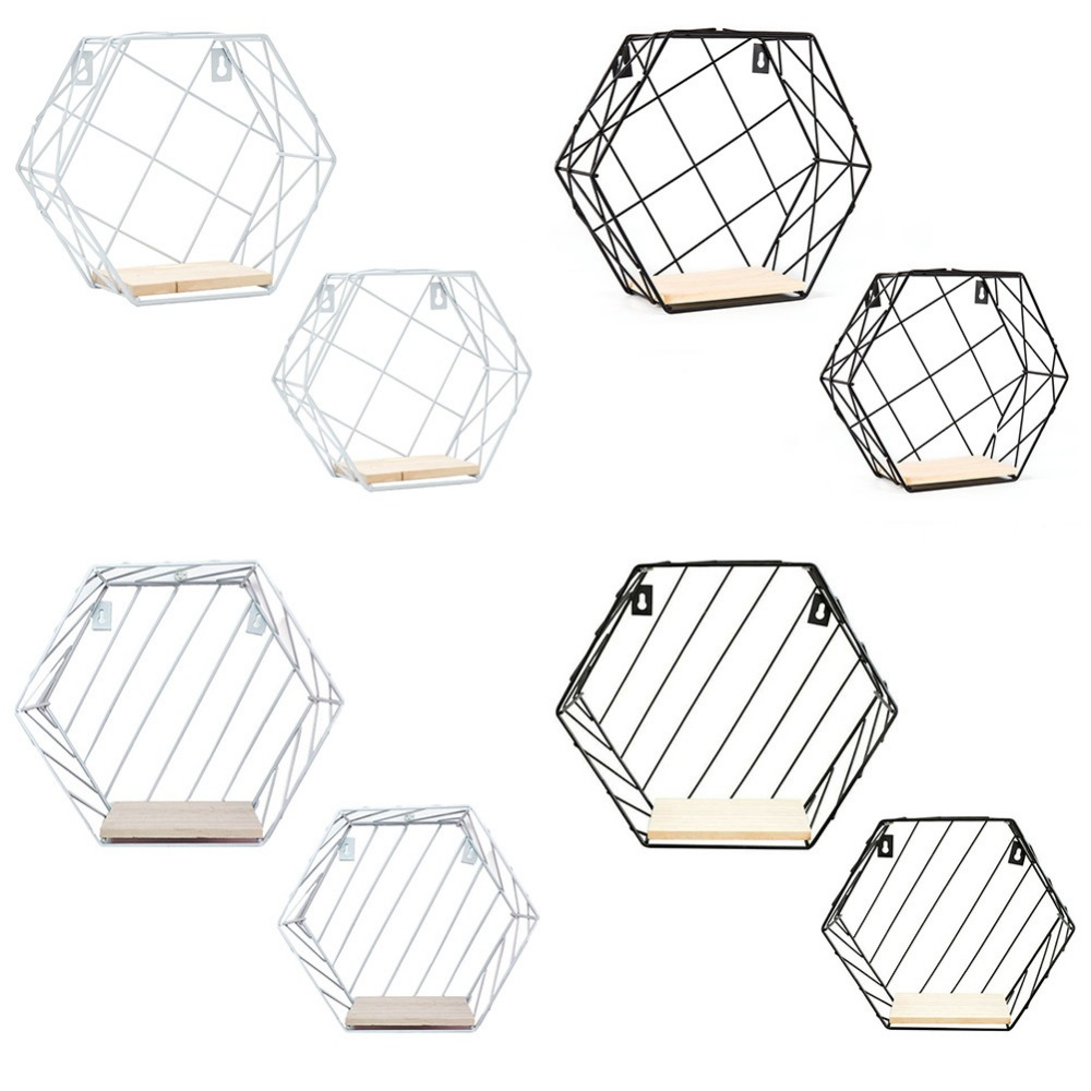 Us $1159 9% Off|wall Hemp Rope Partition Innovative Bathroom Shelves Wall  Hanging Hexagonal Iron Shelf Decoration-in Storage Holders & Racks From