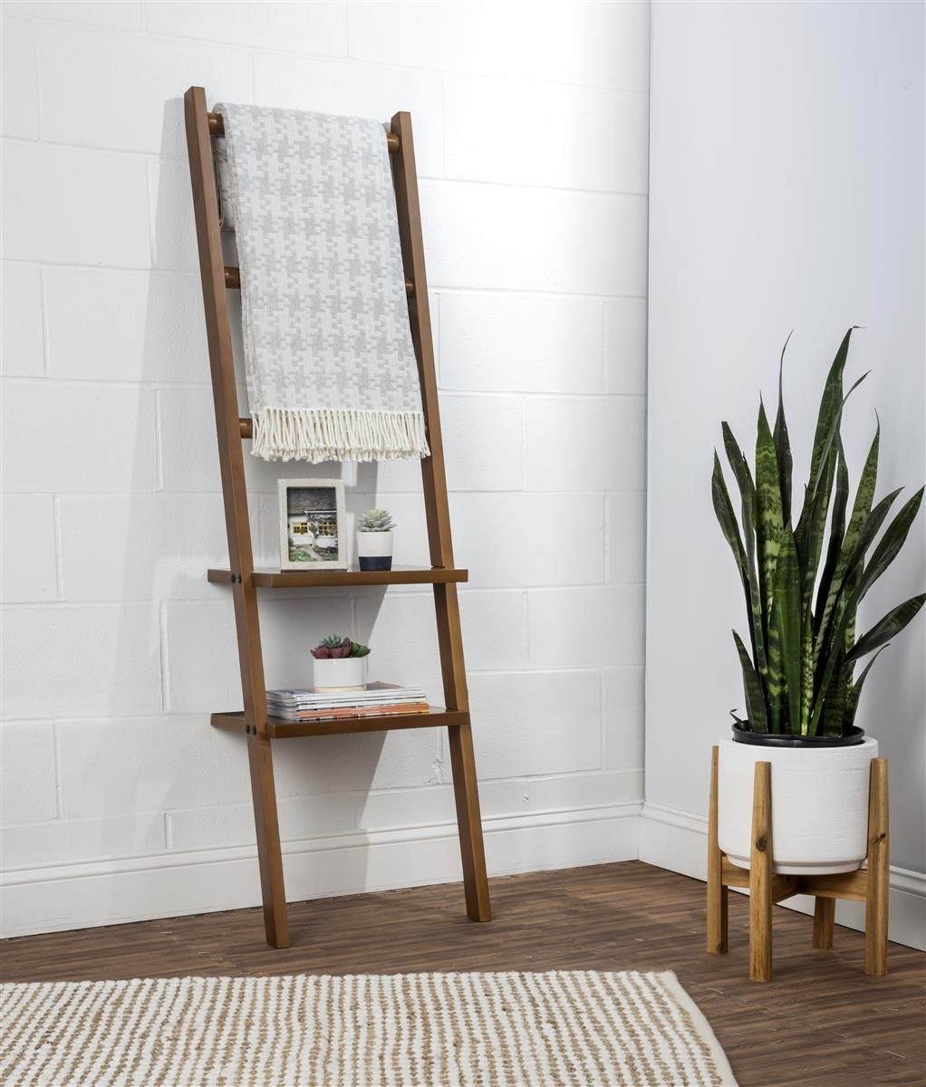 Wooden Leaning Ladder Rack With 3 Hanging Rods, 2 Shelves