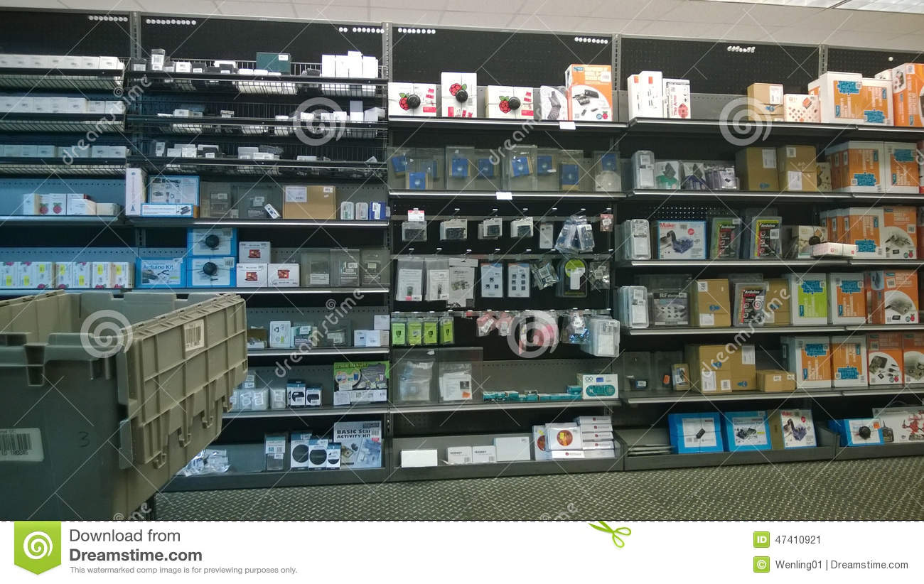 Computer Equipment On Shelves Editorial Photo - Image Of