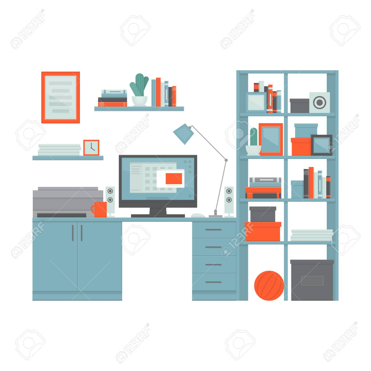 Workplace Freelancer With Desk, Computer, Shelves And Equipment