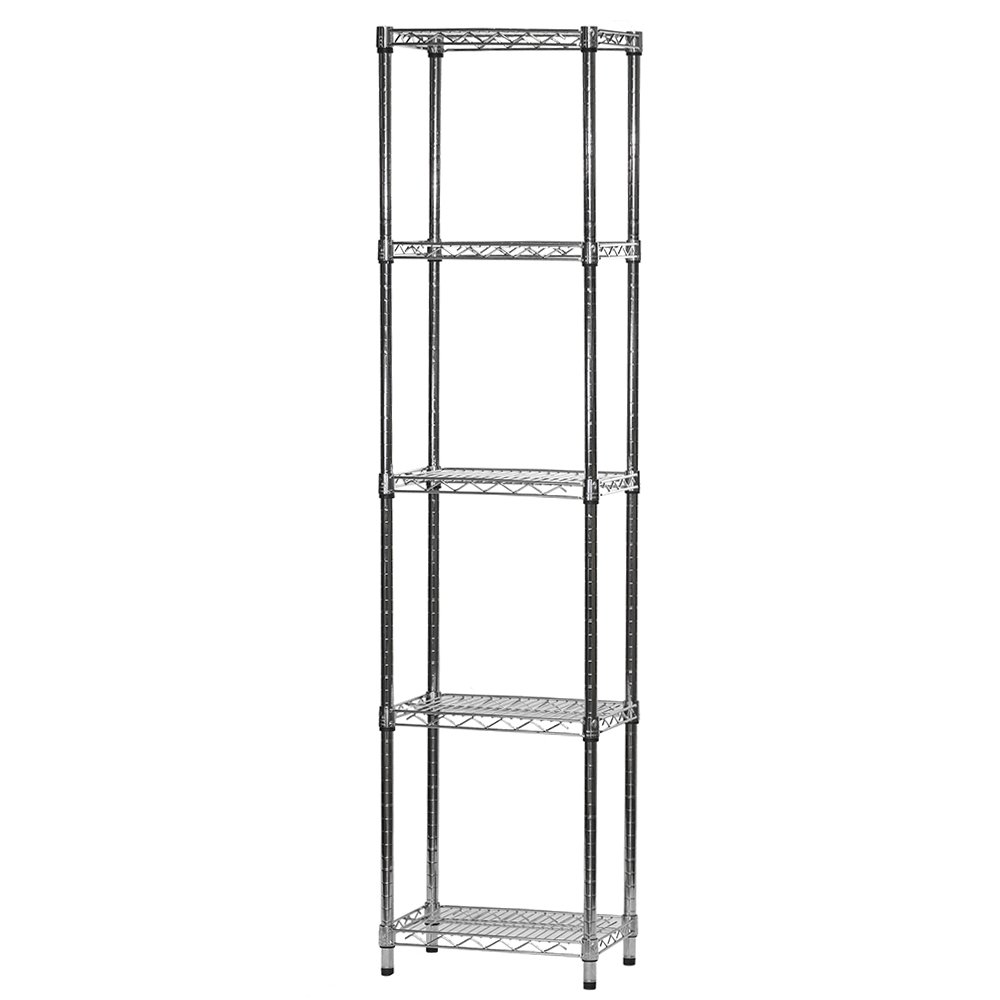 """12""""d X 18""""w X 72""""h Chrome Wire Shelving With 5 Shelves"""