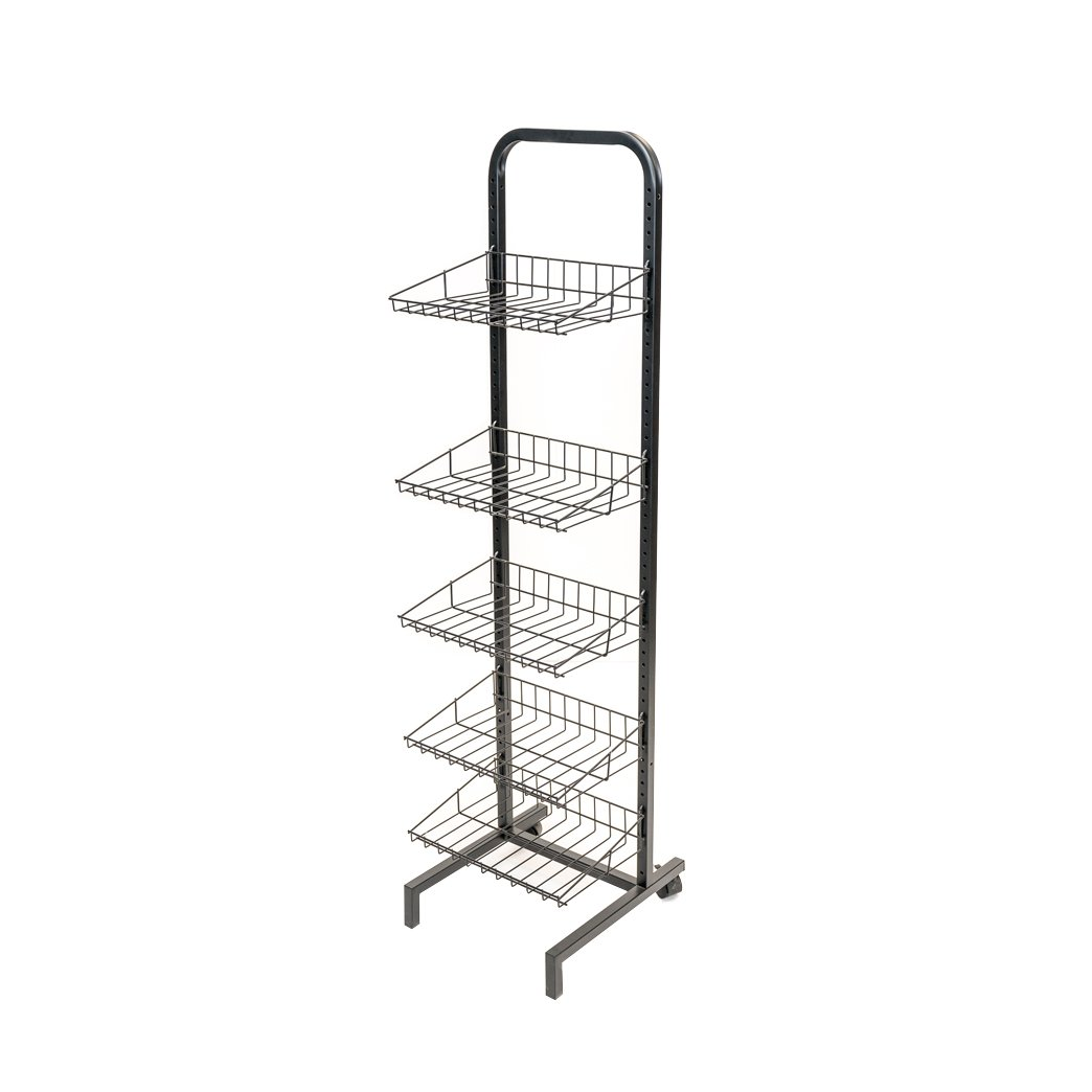 1-sided Floor Display With 5 Adjustable Wire Shelves, Metal Tube Frame,  Metal Base With Rear Wheels, And Black Powder Coated Finish