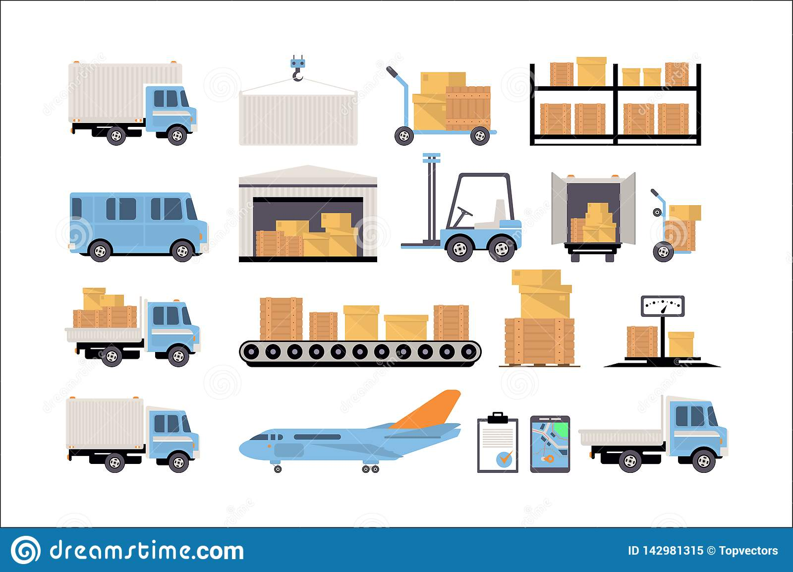 Warehouse And Logistic Set, Shelves With Goods, Delivery
