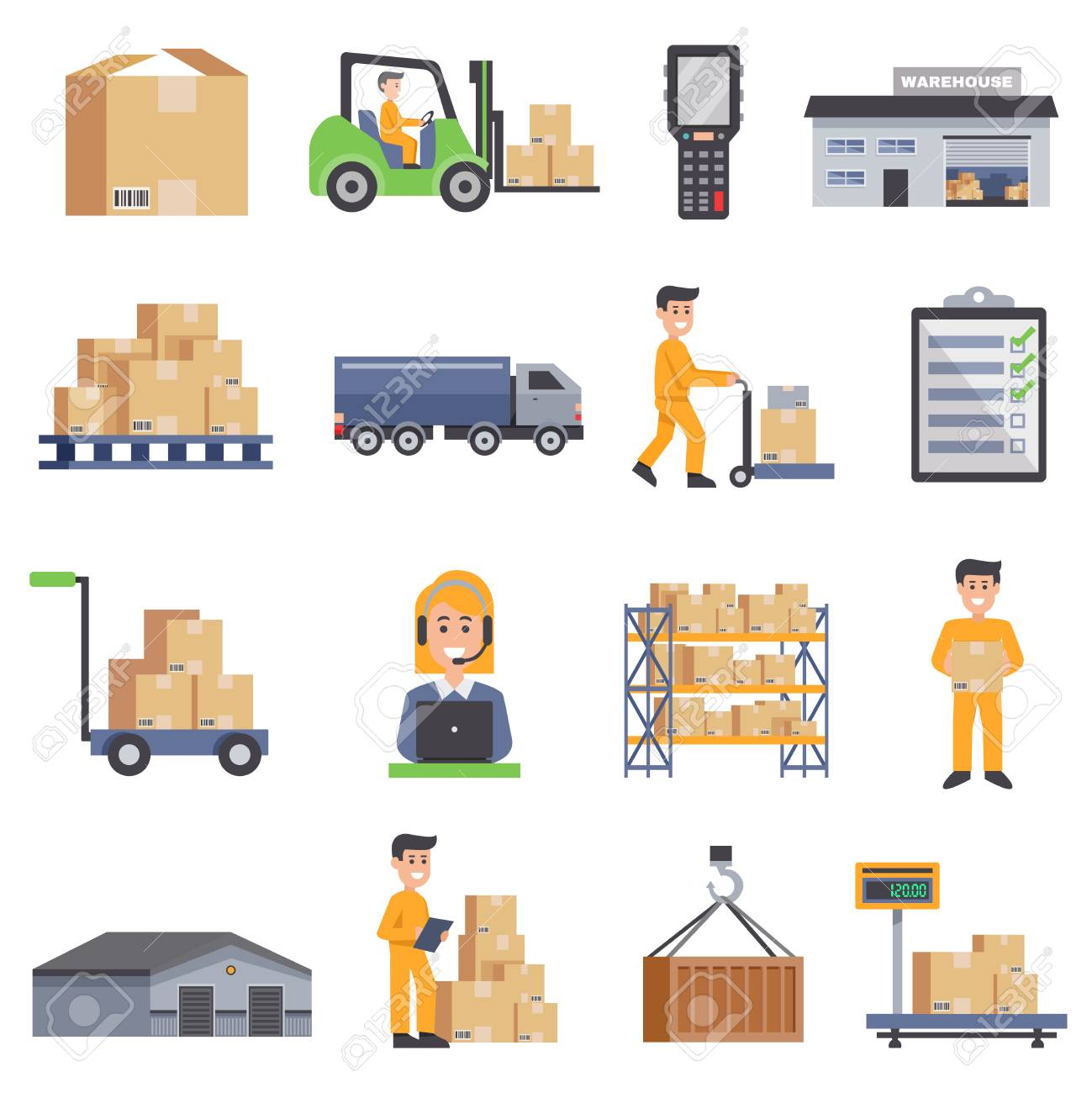 Warehouse Isolated Flat Icons Set Of Delivery Truck Shelves