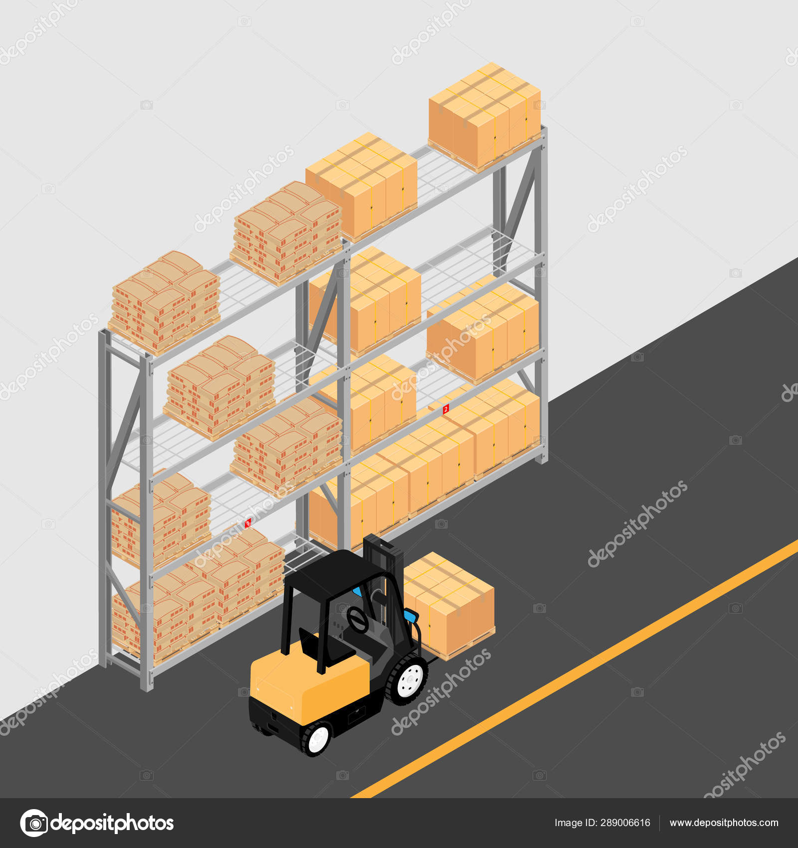 Warehouse Interior With Shelves, Pallets, Forklift And Boxes