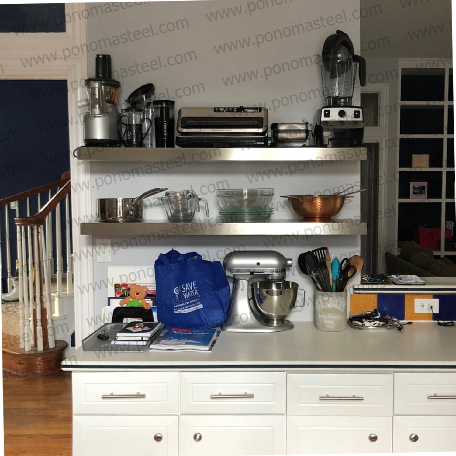 """47-53"""" Stainless Steel Floating Shelves Ponoma For Cabinet, Entryway,  Kitchen, Livingroom, Bar-for Real Heavy Duty =5lbs/inch"""