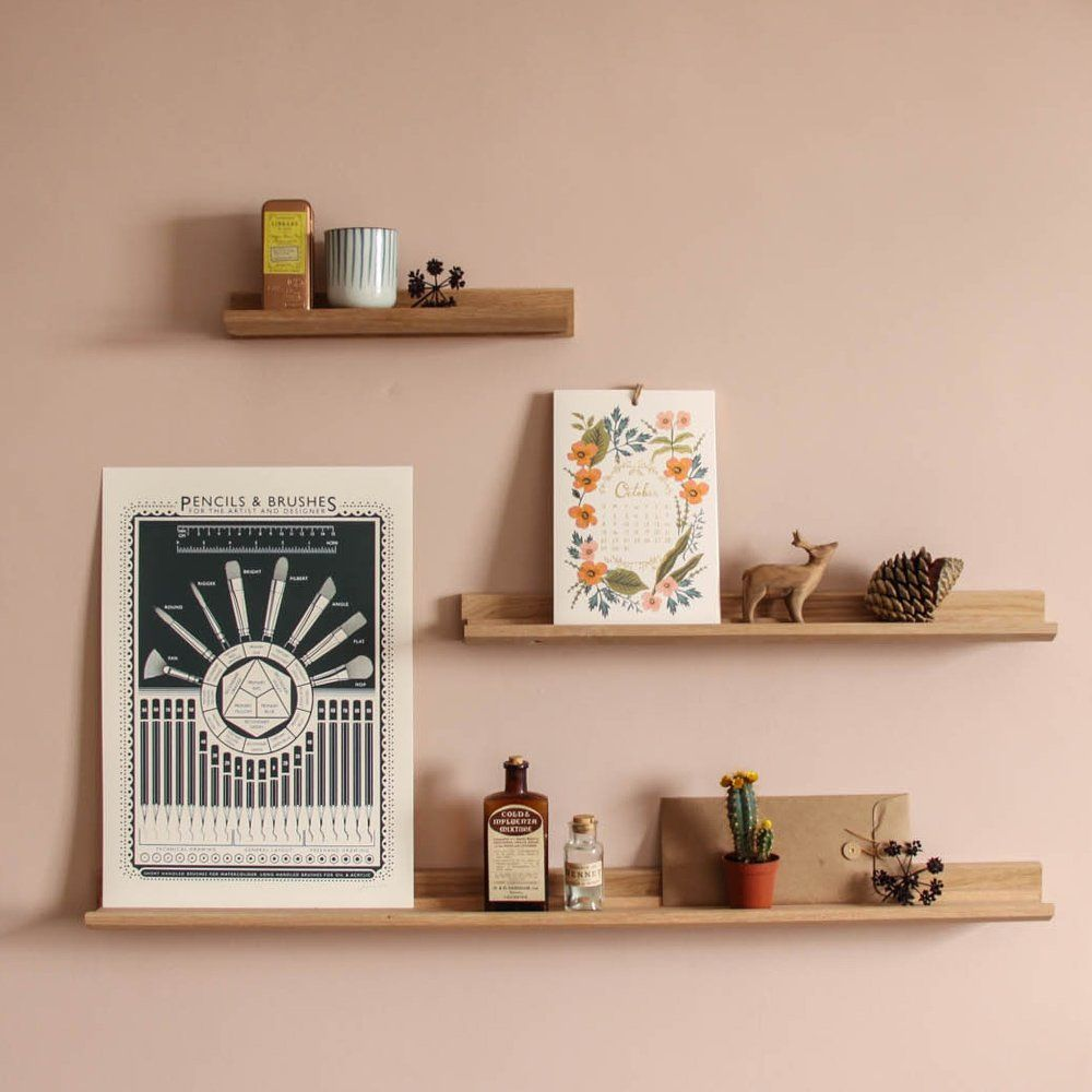 Oak Picture Ledge/accessory Shelves Are Perfect For A