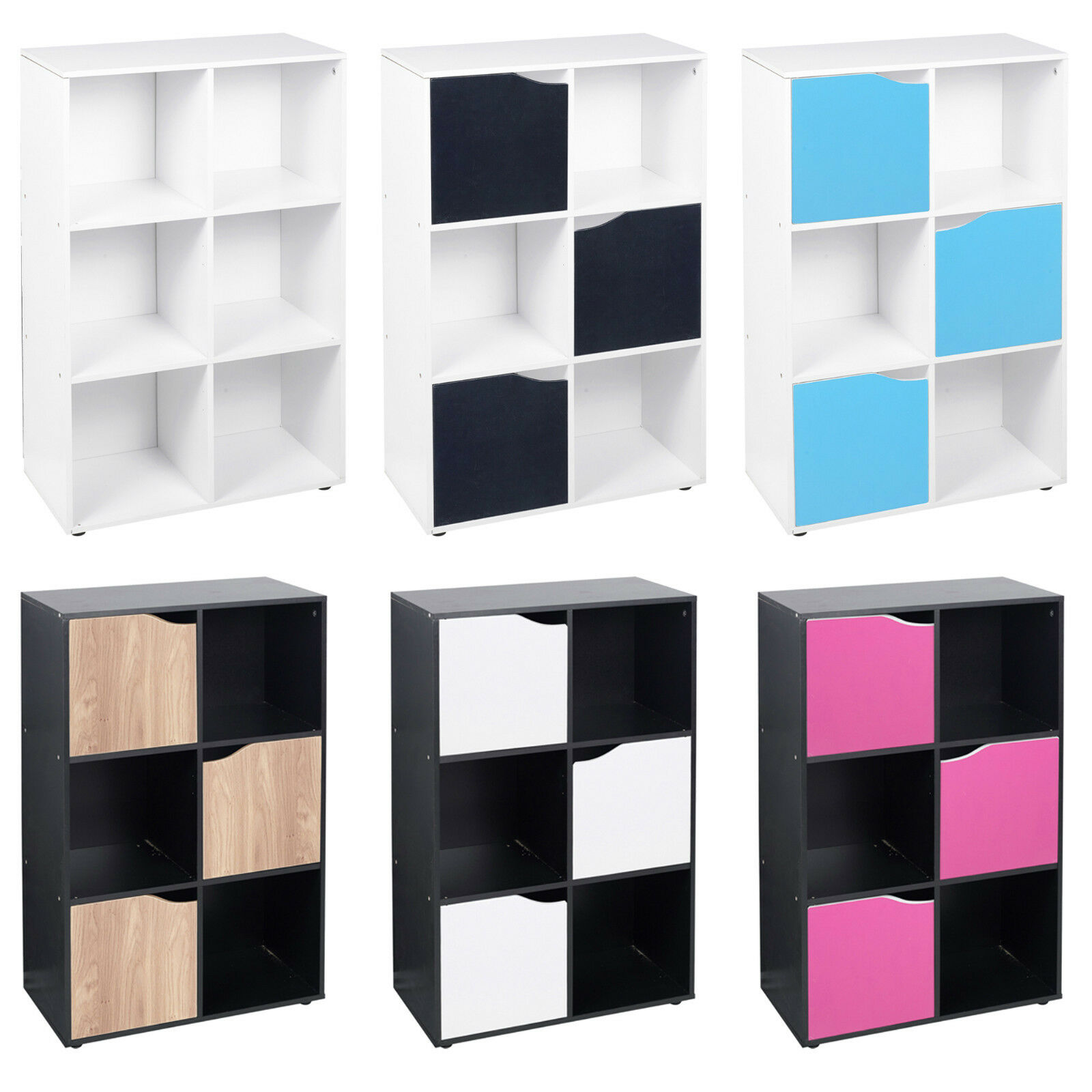 Details About 6 Cube Wooden Bookcase Shelving Display Shelves Storage Unit  Wood Shelf Door New