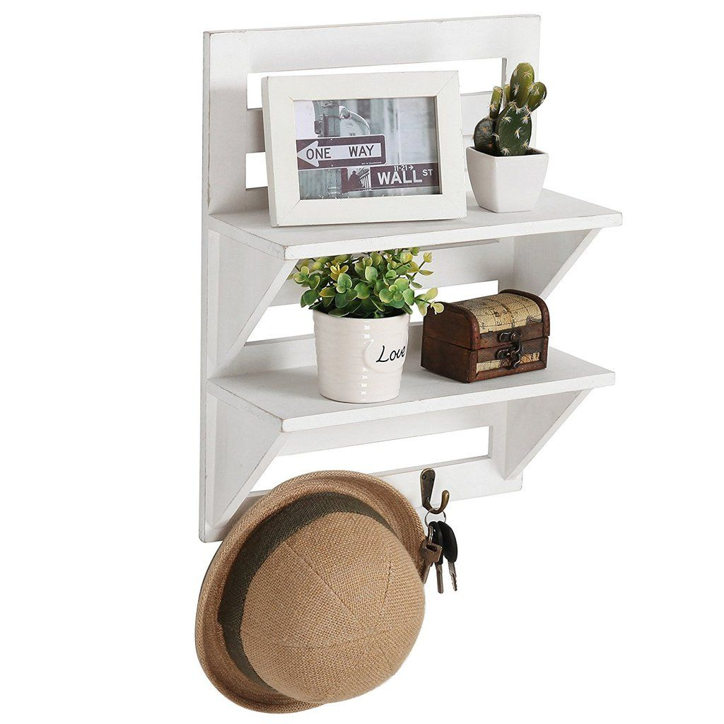 Rustic Distressed White Wood Wall Mounted Organizer Shelves