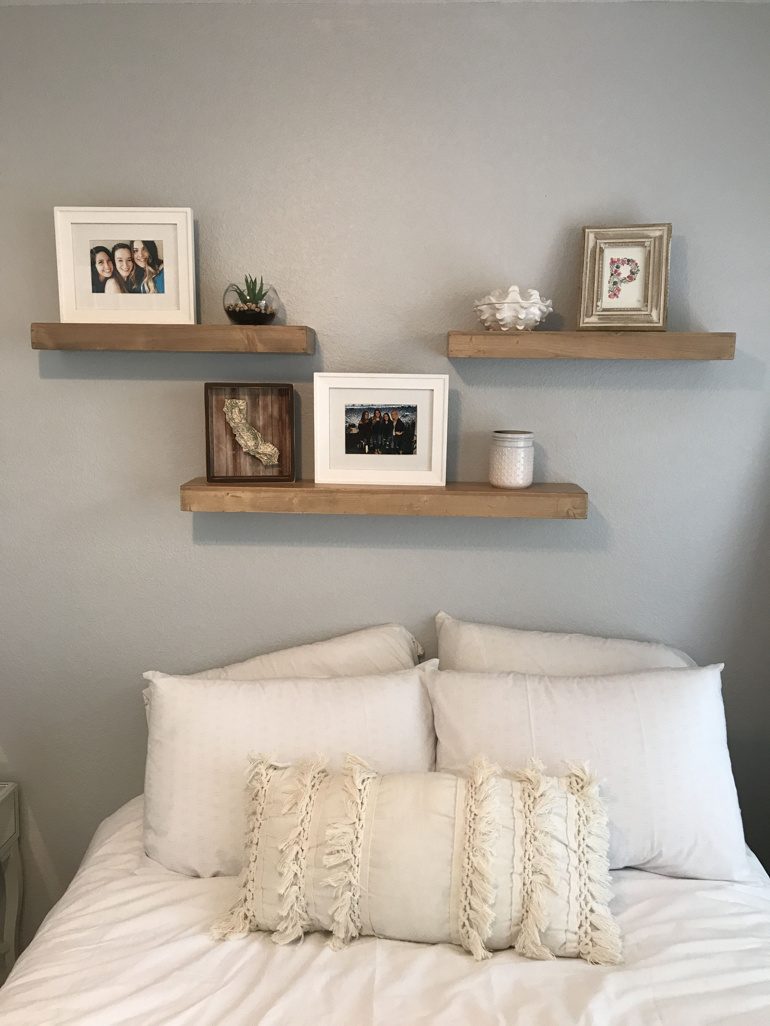 3 Shelves Above Bed White And Grey Bedroom Fun Room