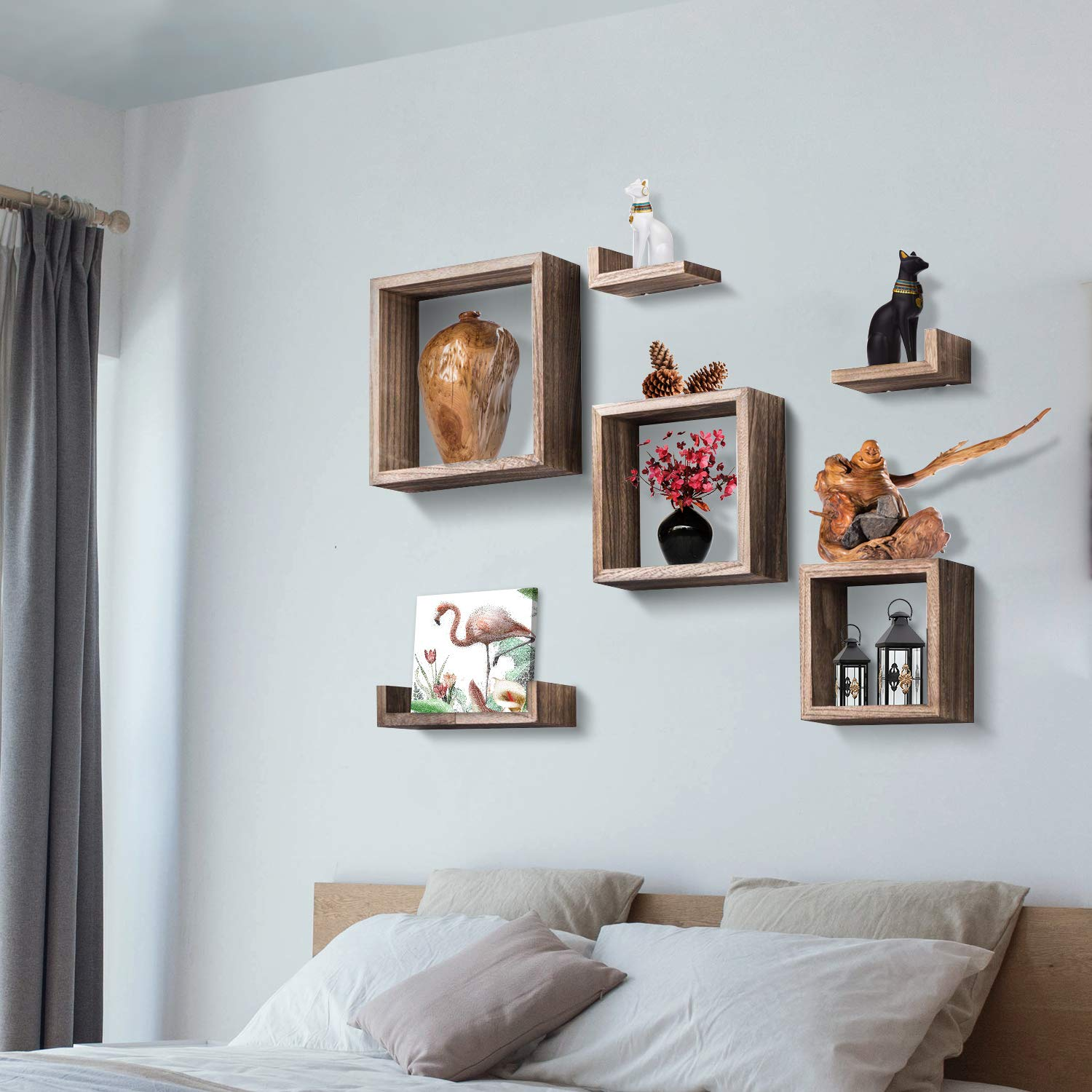 Floating Shelves Wall Mounted Shelf With 3 Square Boxes And 3 L Shelves For  Grouping Set Of 7 Rustic Wood Wall Storage Shelves For Bedroom, Living