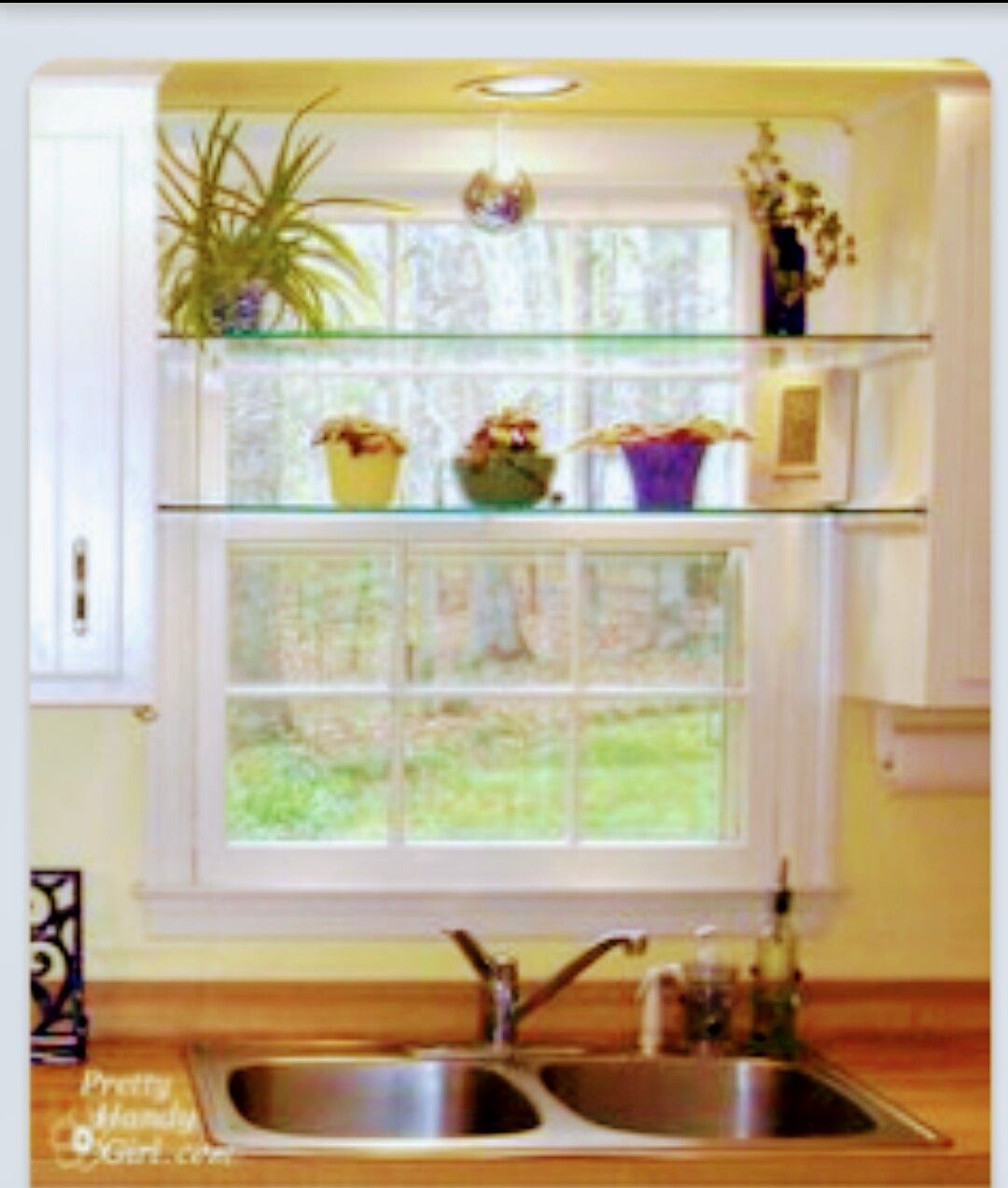 Glass Shelves In Front Of The Window Nice ! | Kitchen