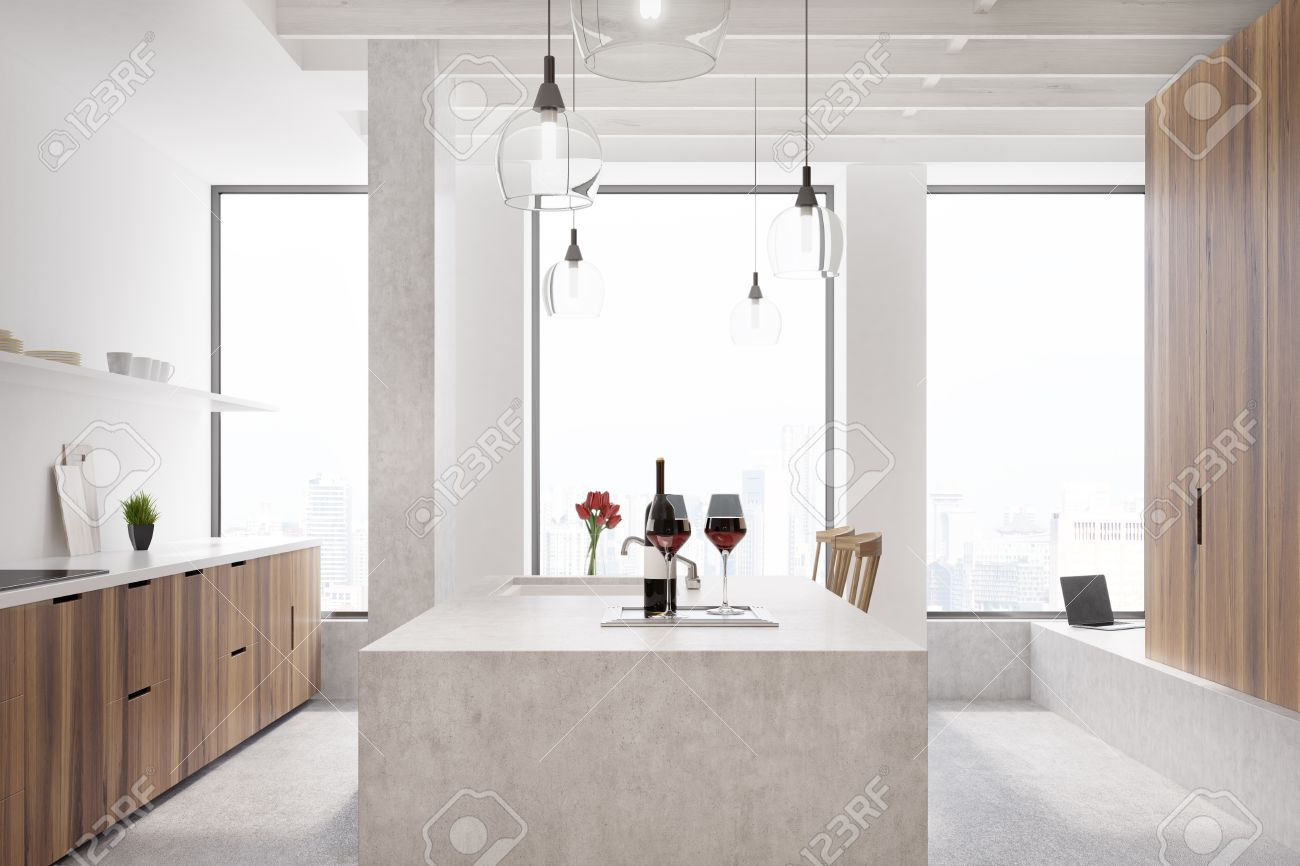 Marble Bar In A White Kitchen With Wooden Cabinets, Shelves With