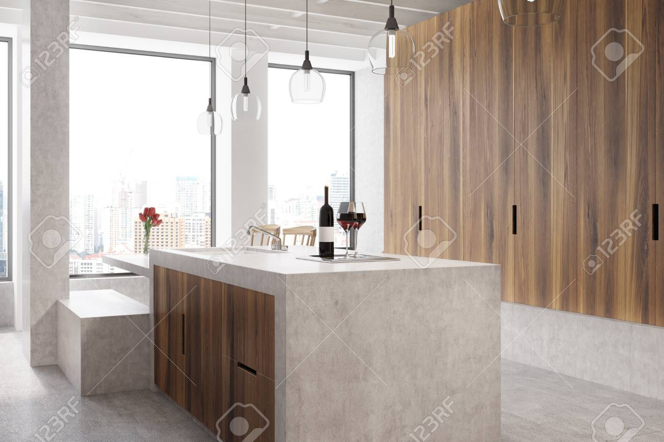 Marble Bar In A White Kitchen With Wooden Cabinets And Shelves