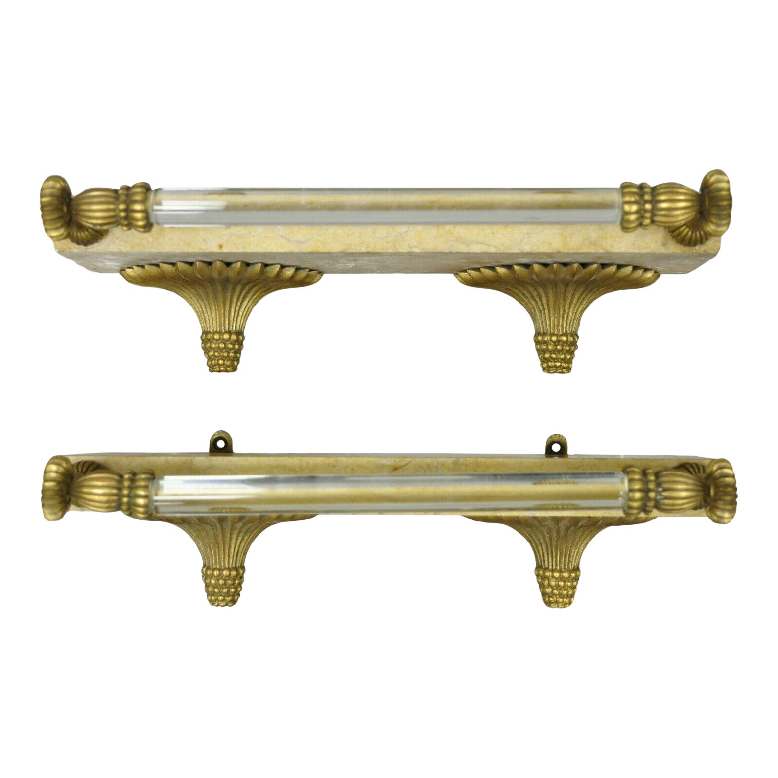Sherle Wagner Style French Bronze Marble Glass Bar Rod Towel Shelves - A  Pair